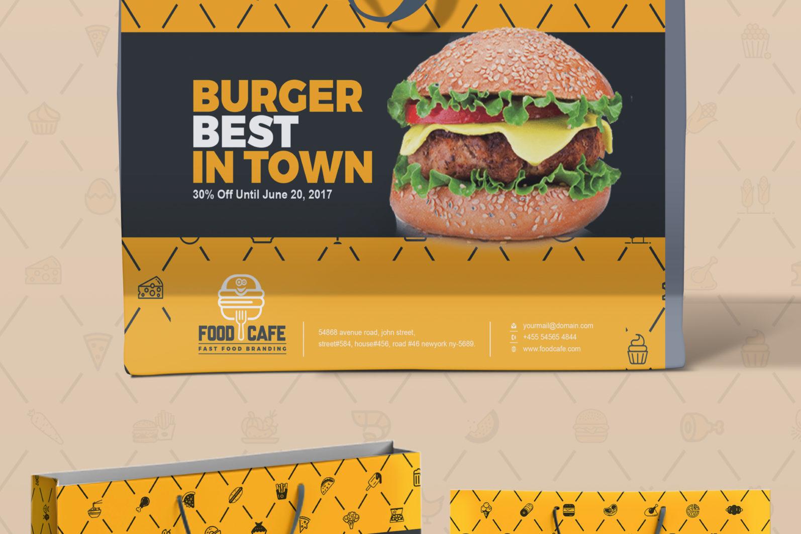 Mega Stationery Branding Identity for Fast Food and Restaurant - 14 Shopping Bag -