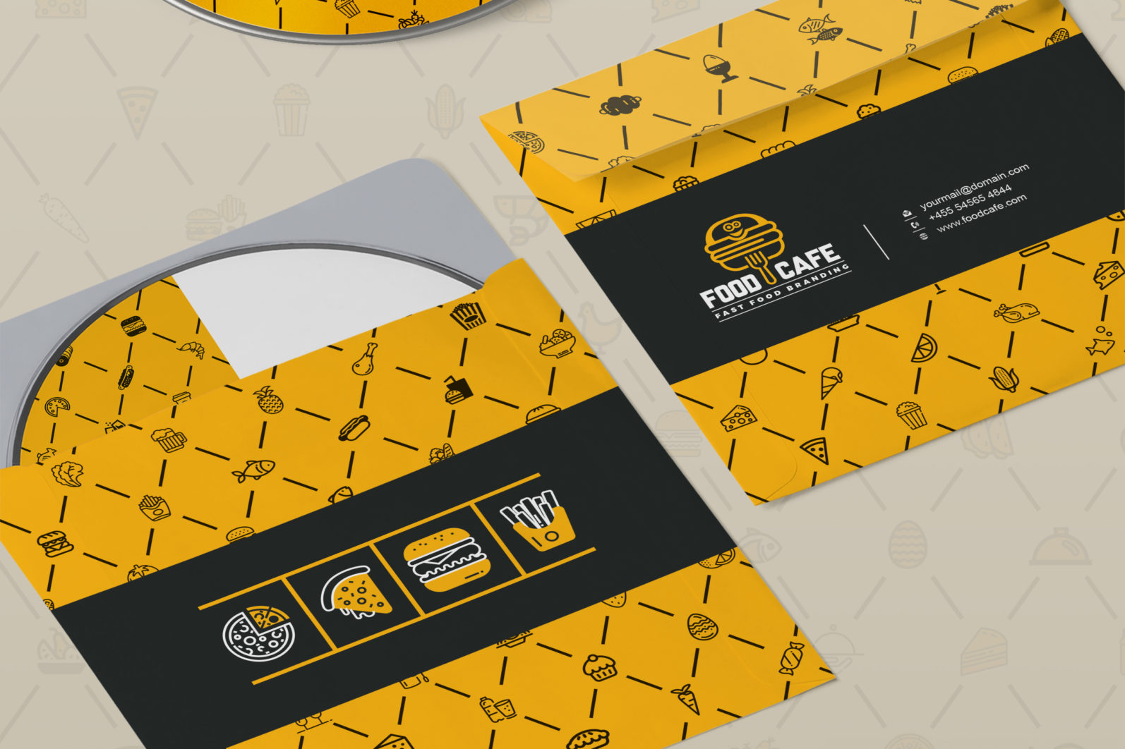 Mega Stationery Branding Identity for Fast Food and Restaurant - 15 CD and DVD Package -