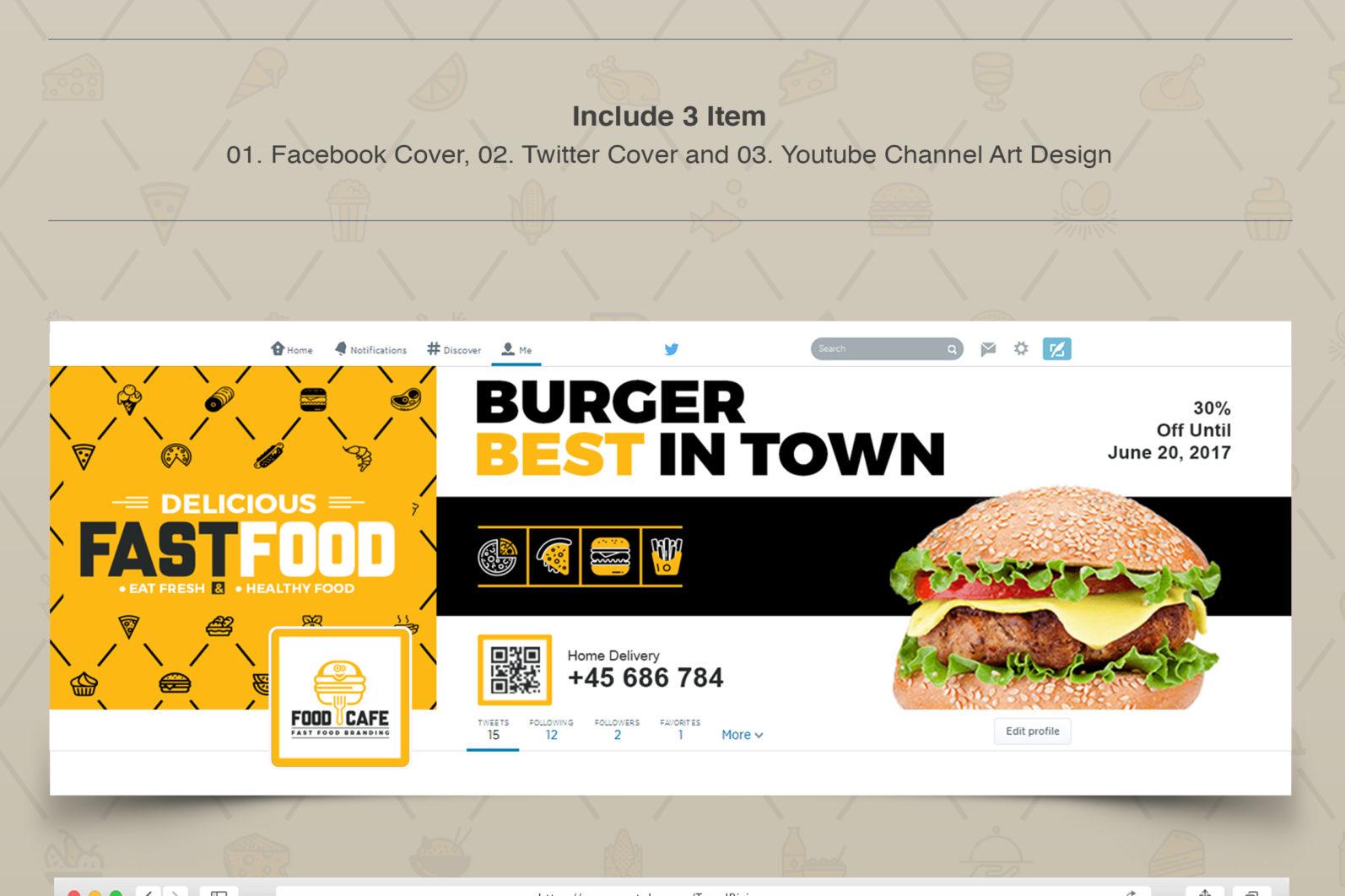 Mega Stationery Branding Identity for Fast Food and Restaurant - 18 Social Media Cover Design -