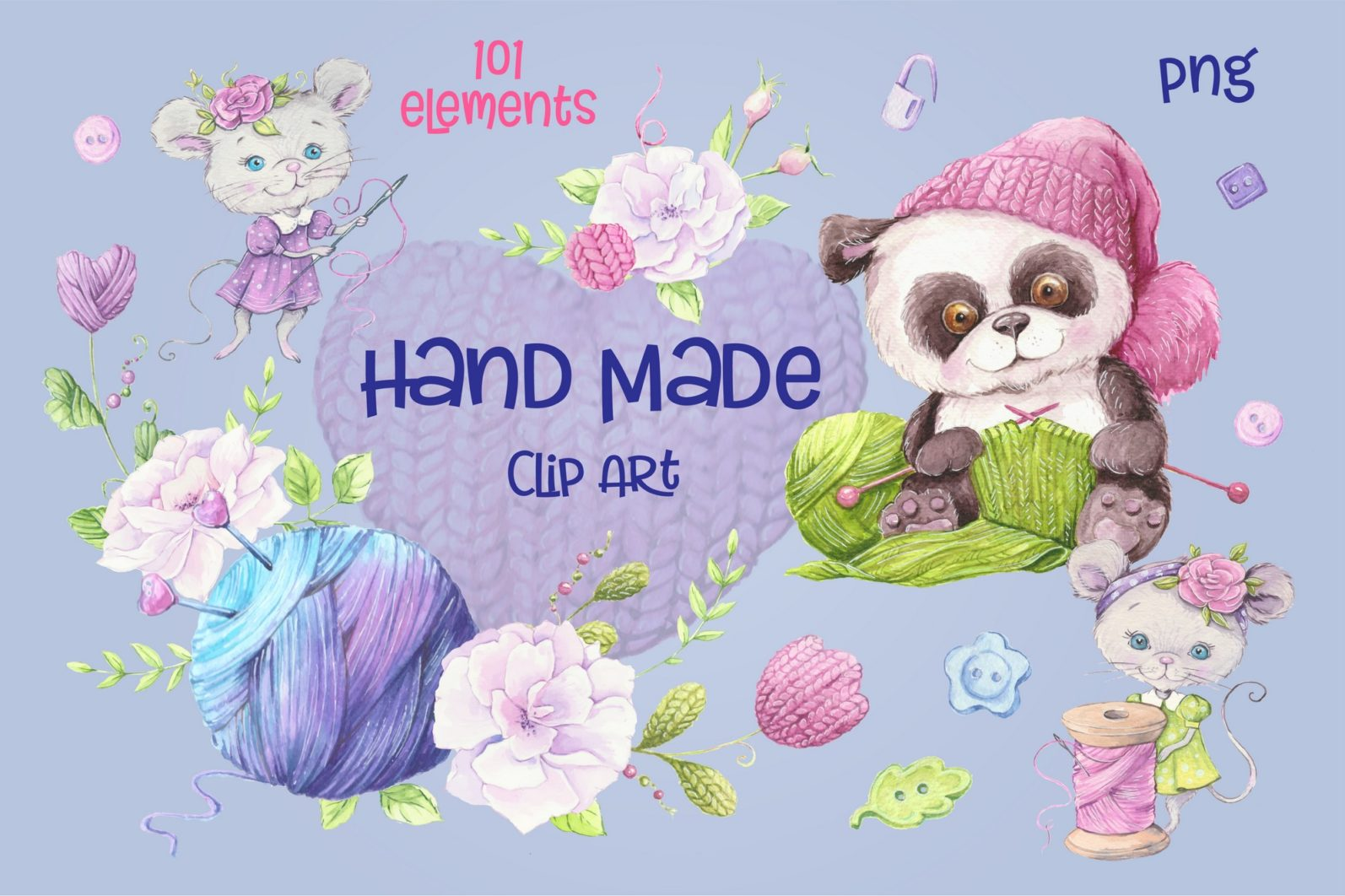 Hand Made – watercolor clip art - 1842 -