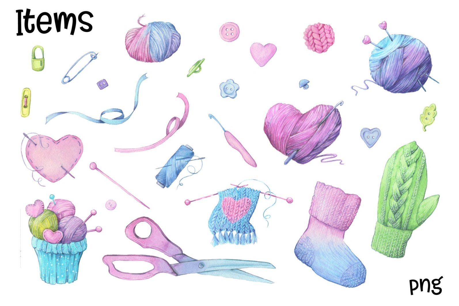 Hand Made – watercolor clip art - 7169 -