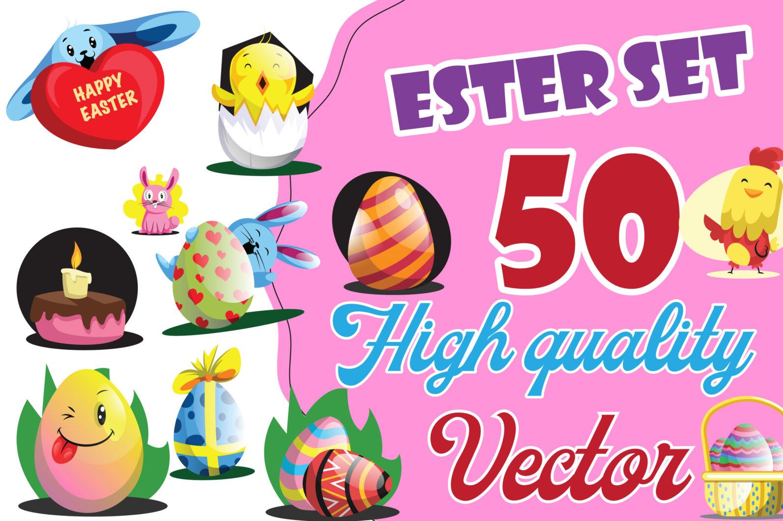 50X Easter Custom illustrations set/collection - 21 Easter Set 50x PRESENTATION IMAGE -