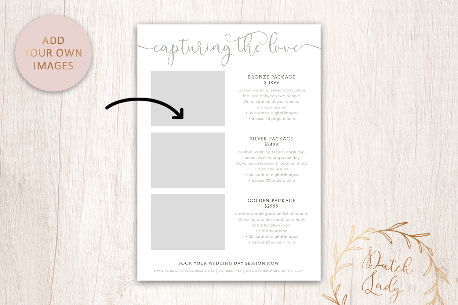 PSD Photography Price Card Template #18 - photo card design vertical2 -