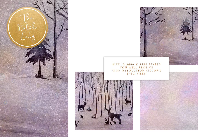 Digital Backgrounds & Scrapbook Papers - Winter Sceneries - winter scenery backgrounds -