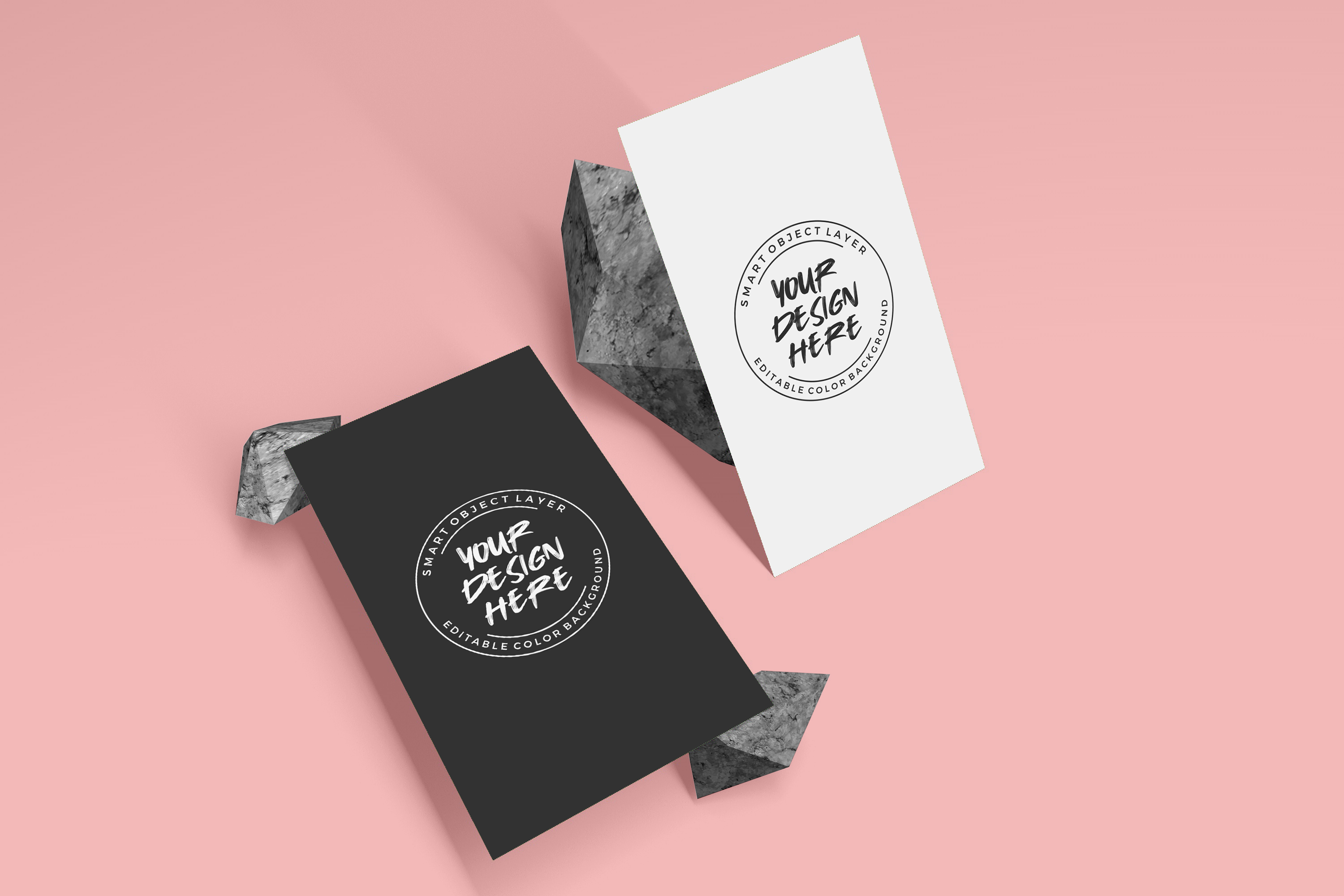 vertical business card mockup with stone decoration  crella