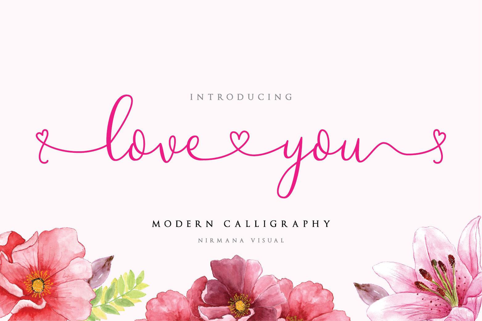 Loveyou - Romantic Font - 1 95 -