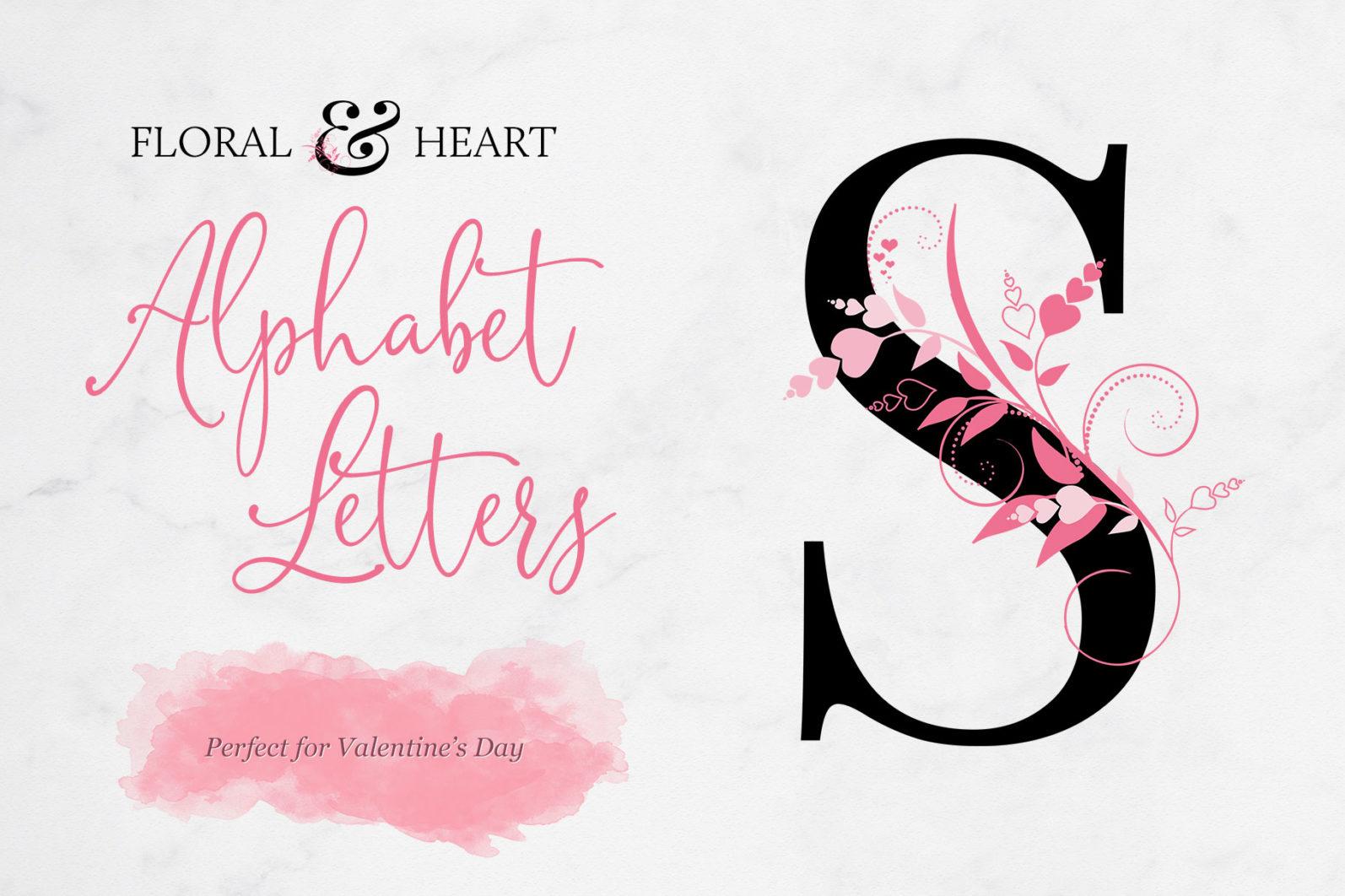 Floral & Heart Alphabet Letters - title page -