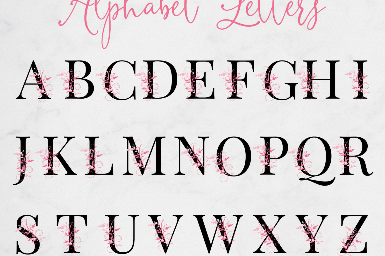Floral & Heart Alphabet Letters - letters page -