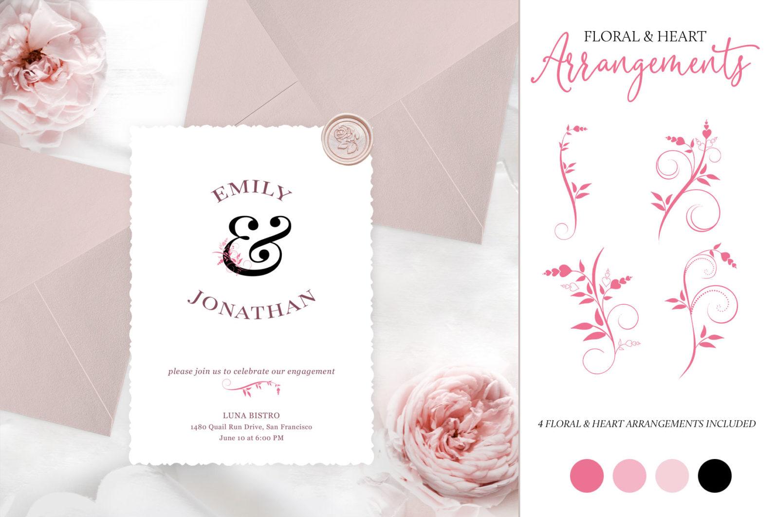 Floral & Heart Alphabet Letters - arrangements page -