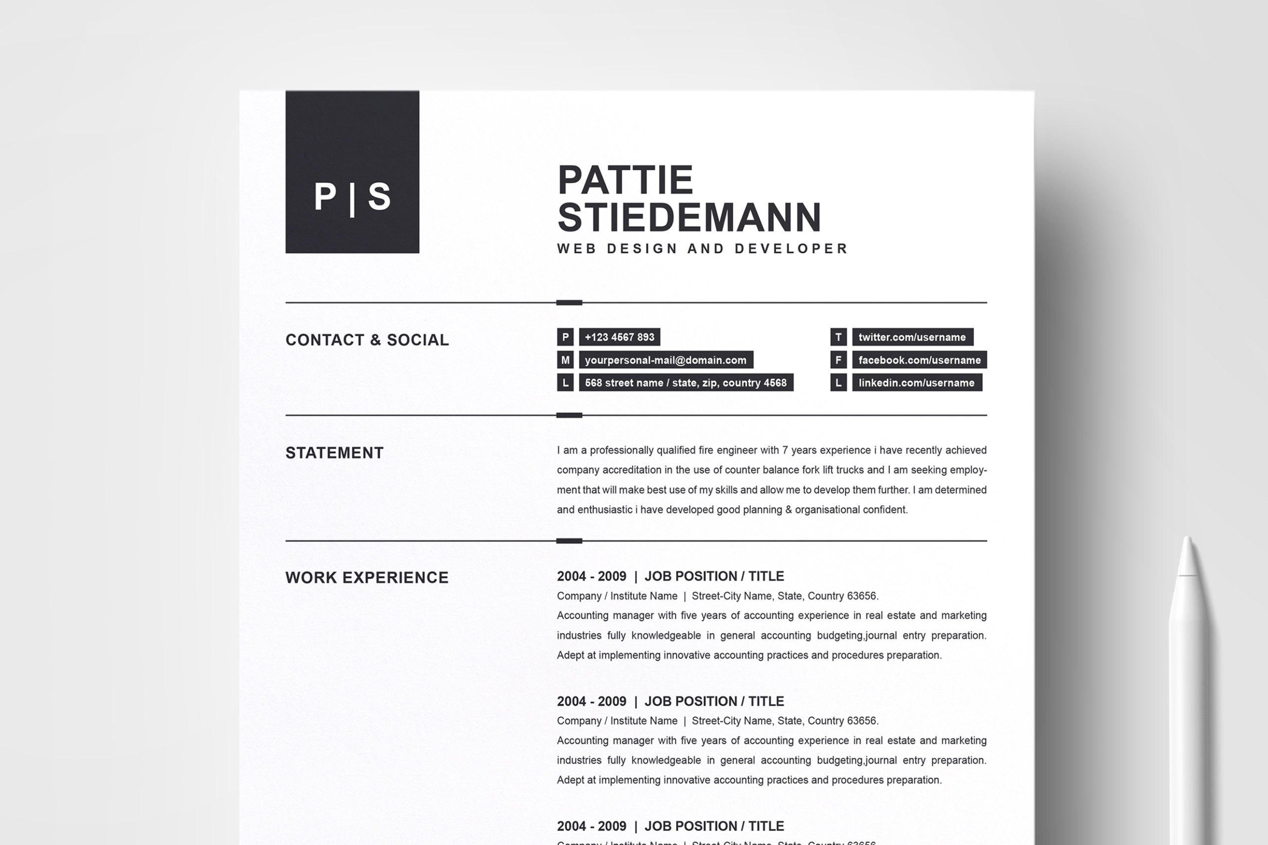 2 Pages Clean Resume Template Simple Basic Professional Resume