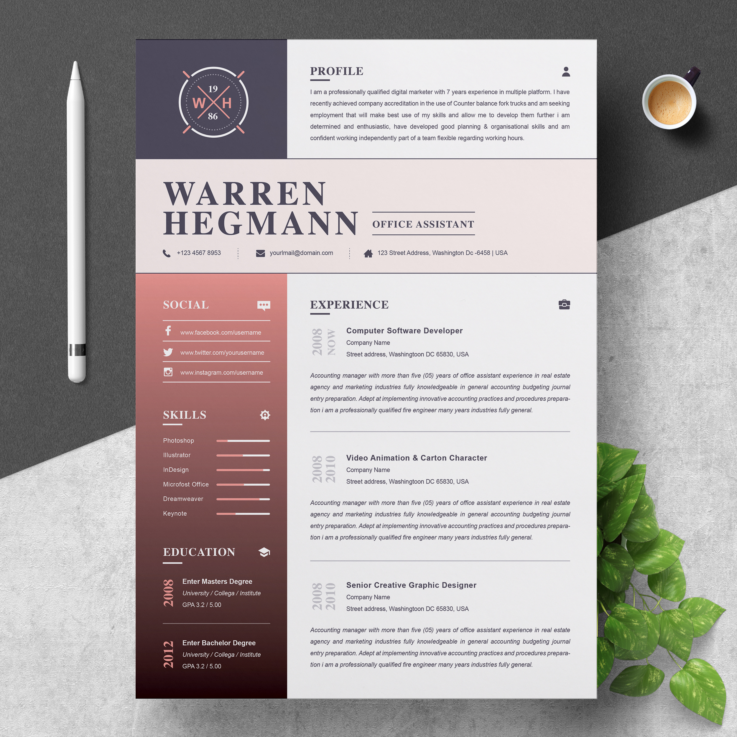 Stationery Poster Template Curriculum Vitae: Modern And Creative Crella