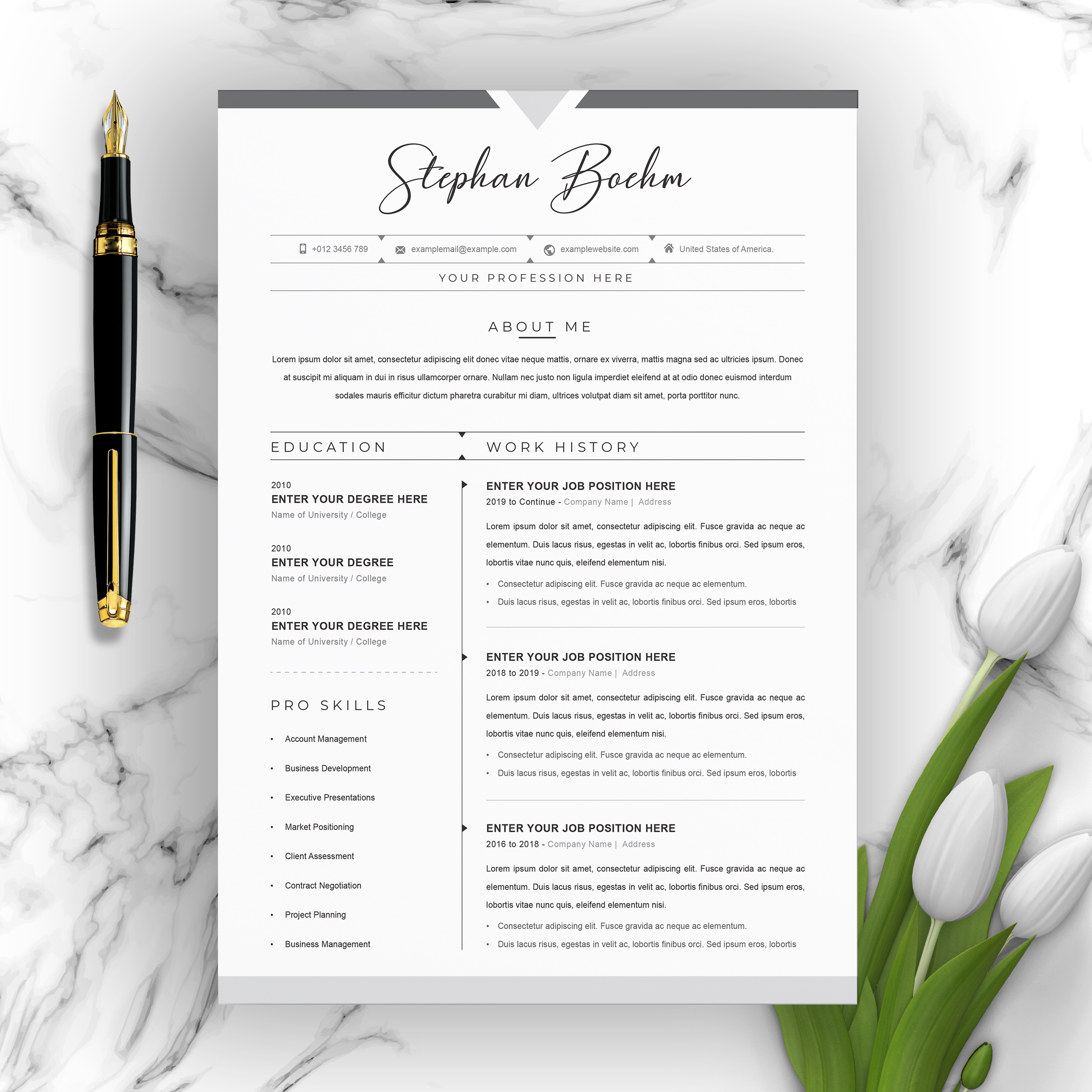 Clean Resume / CV Template with MS Word Cover Letter - Crella
