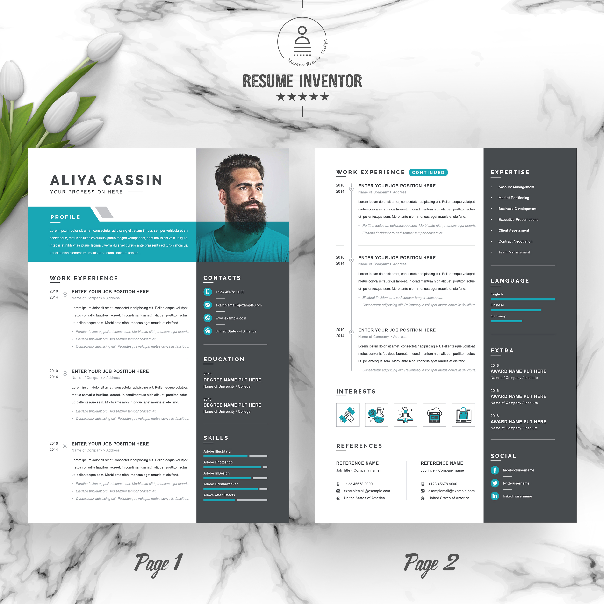 Stationery Poster Template Curriculum Vitae: Professional Resume / CV Template With MS Word Cover