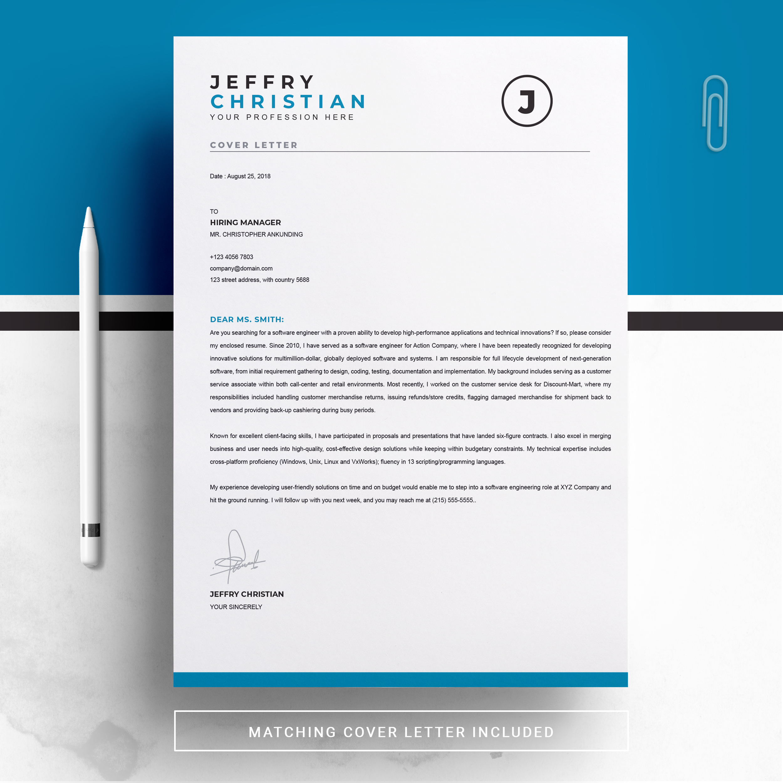 one page resume template instant download  cv template