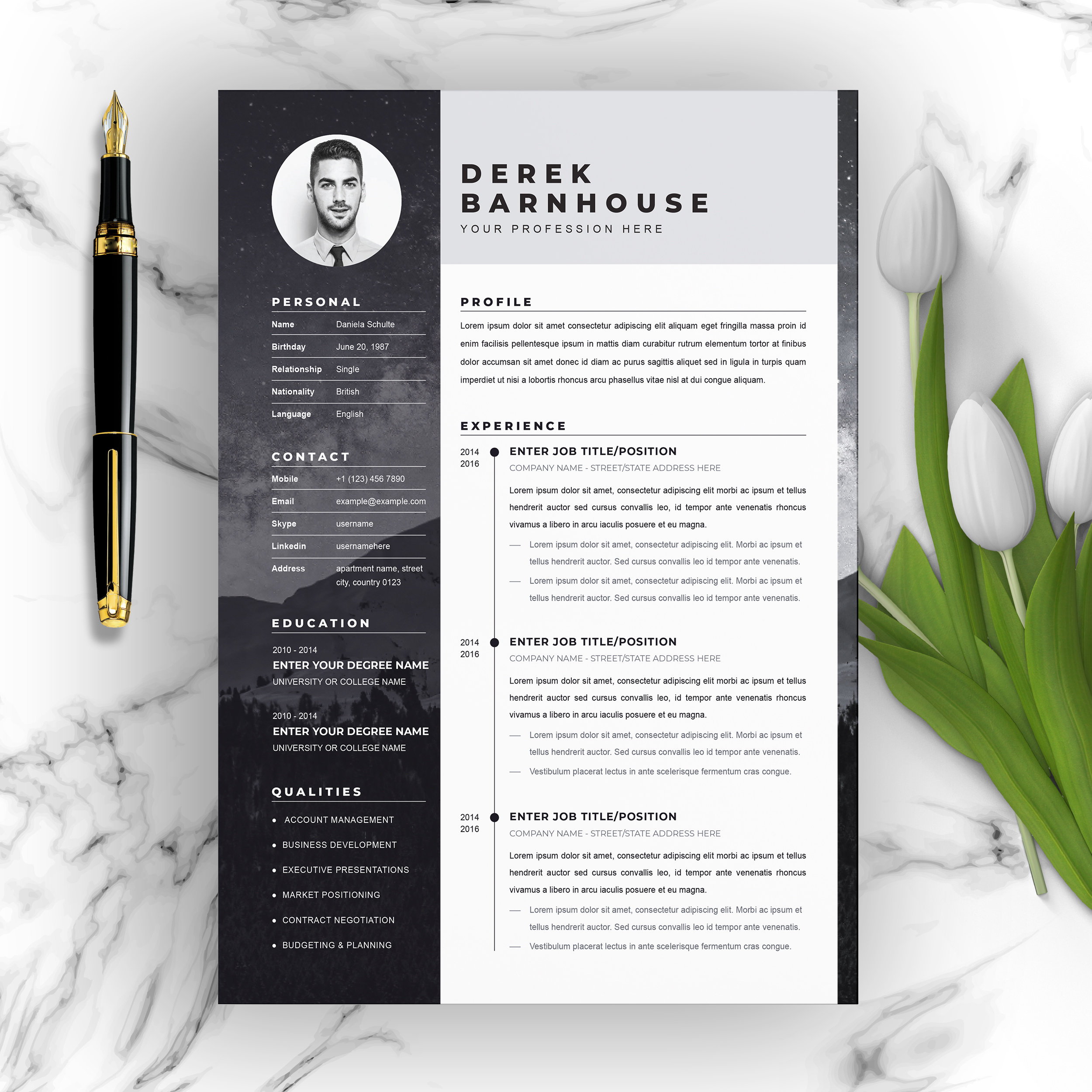 Modern Resume Template Ms Word Free Download لم يسبق له مثيل الصور