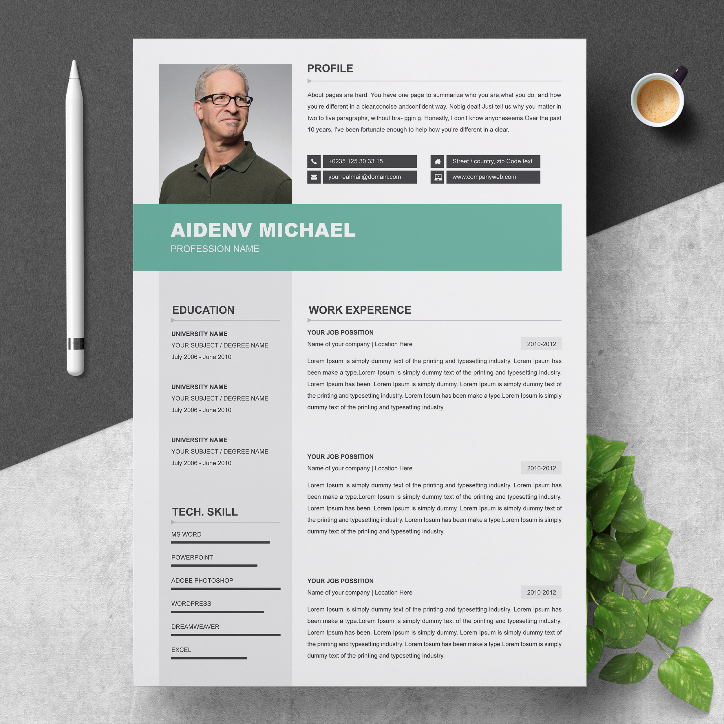 Professional Resume Template   2 Pages MS Word CV with ...