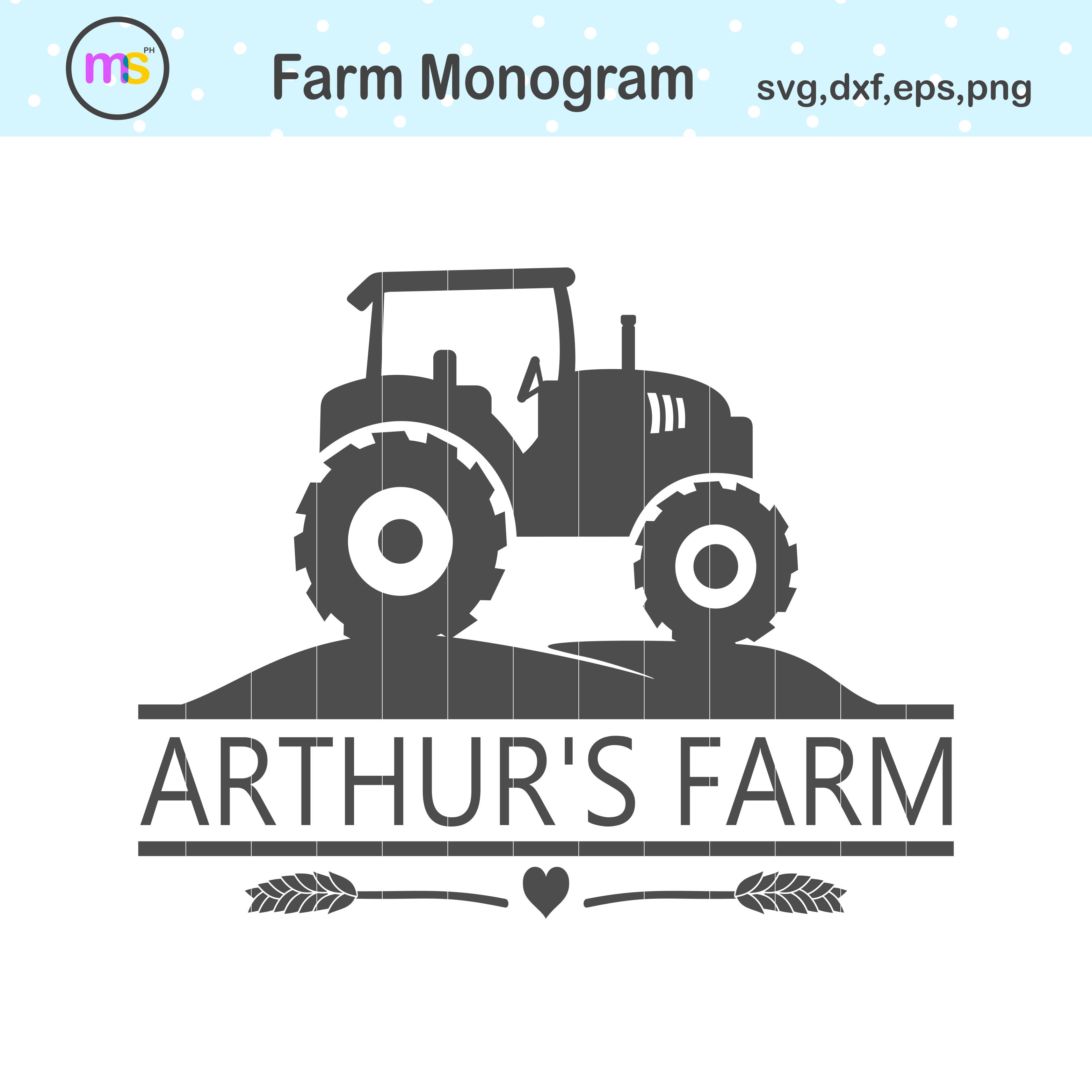 Tractor Monogram Svg Tractor Svg Tractor Clip Art Crella
