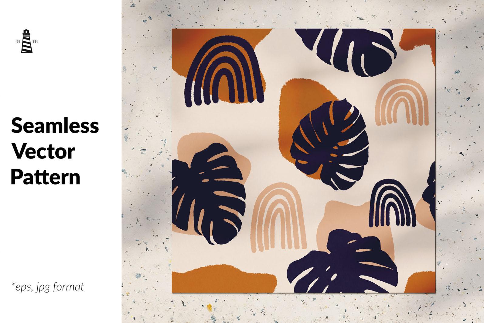 Palm leaves seamless pattern - CREATIVE MARKET 5 -