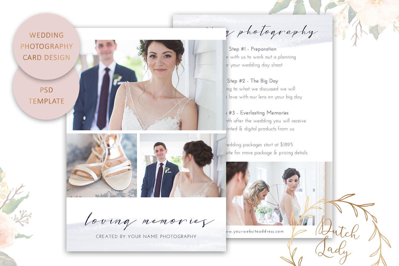 PSD Wedding Photo Session Card - Adobe Photoshop Template #9 - bridal shoot advertising card -