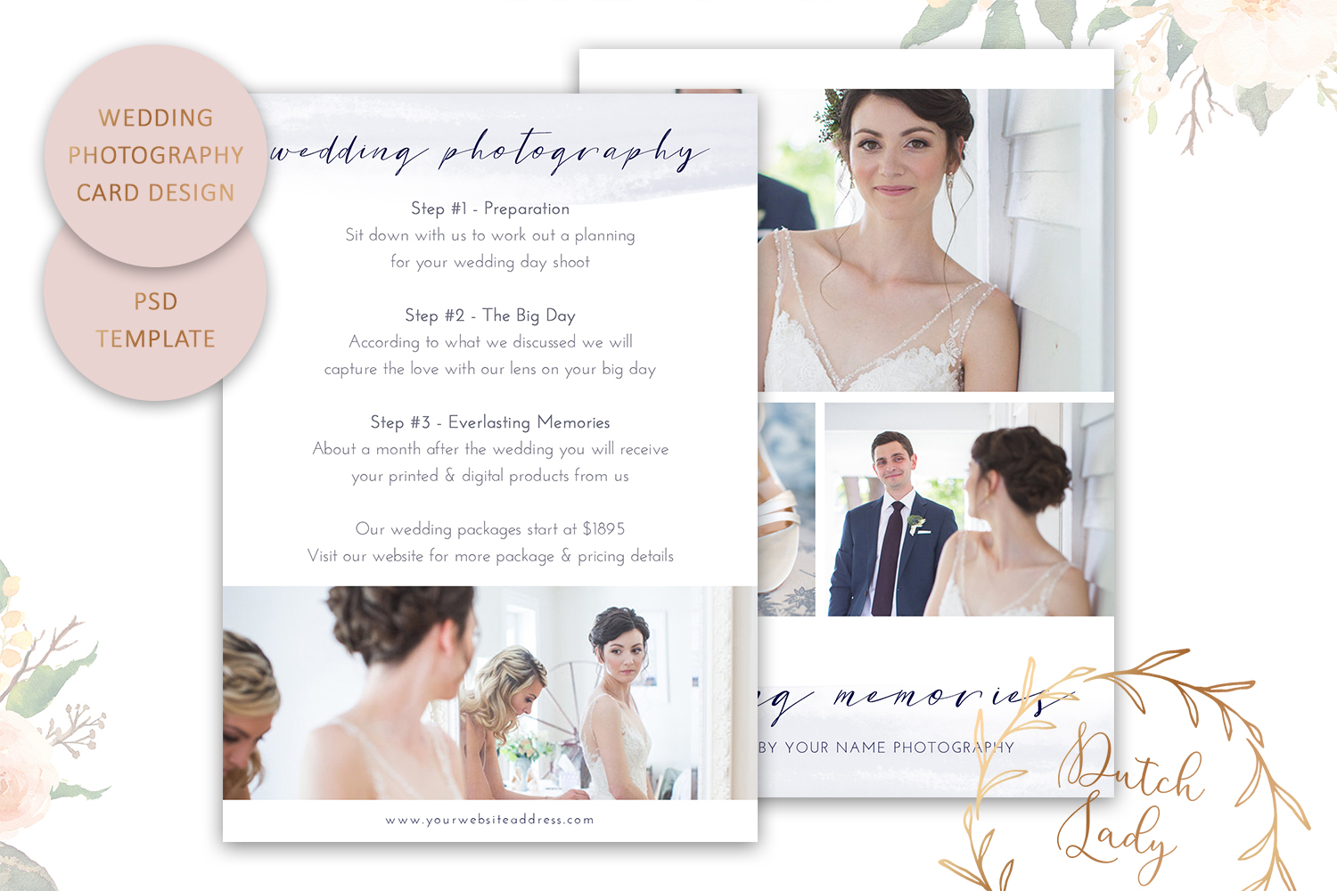 PSD Wedding Photo Session Card - Adobe Photoshop Template #9 - wedding photography pricing guide -