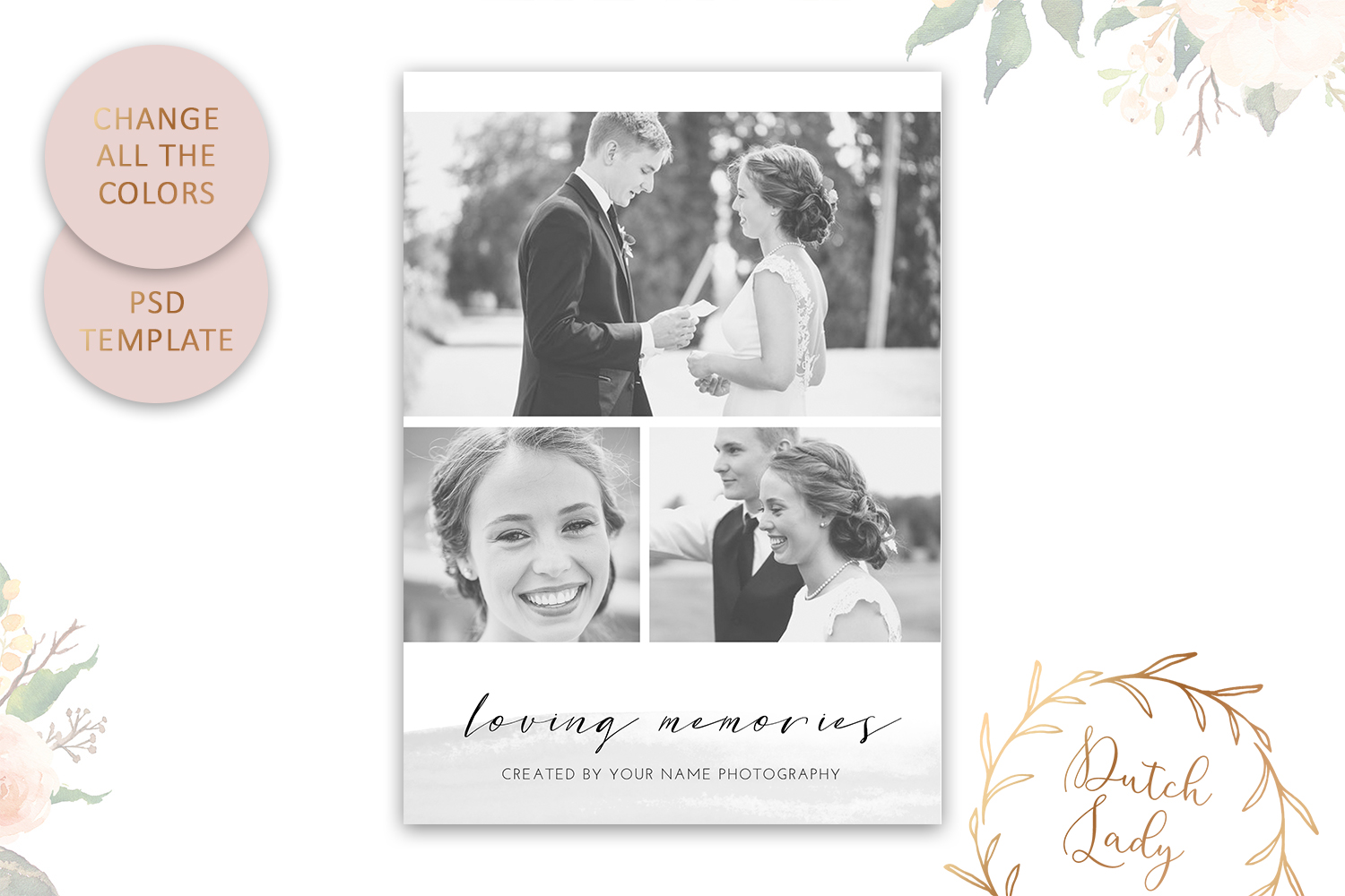PSD Wedding Photo Session Card - Adobe Photoshop Template #9 - customizable card template vertical 1 -
