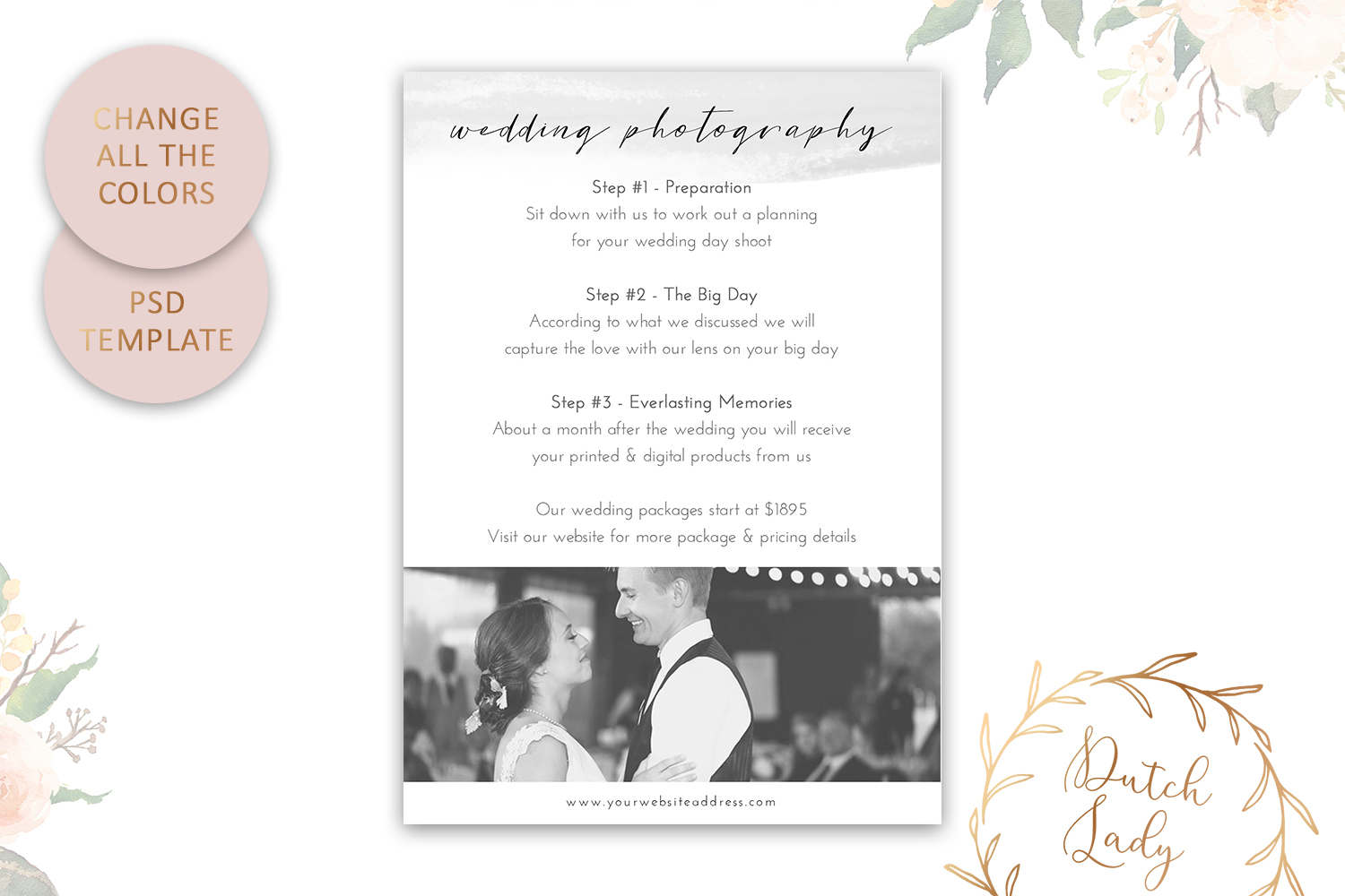 PSD Wedding Photo Session Card - Adobe Photoshop Template #9 - easily change colors and -