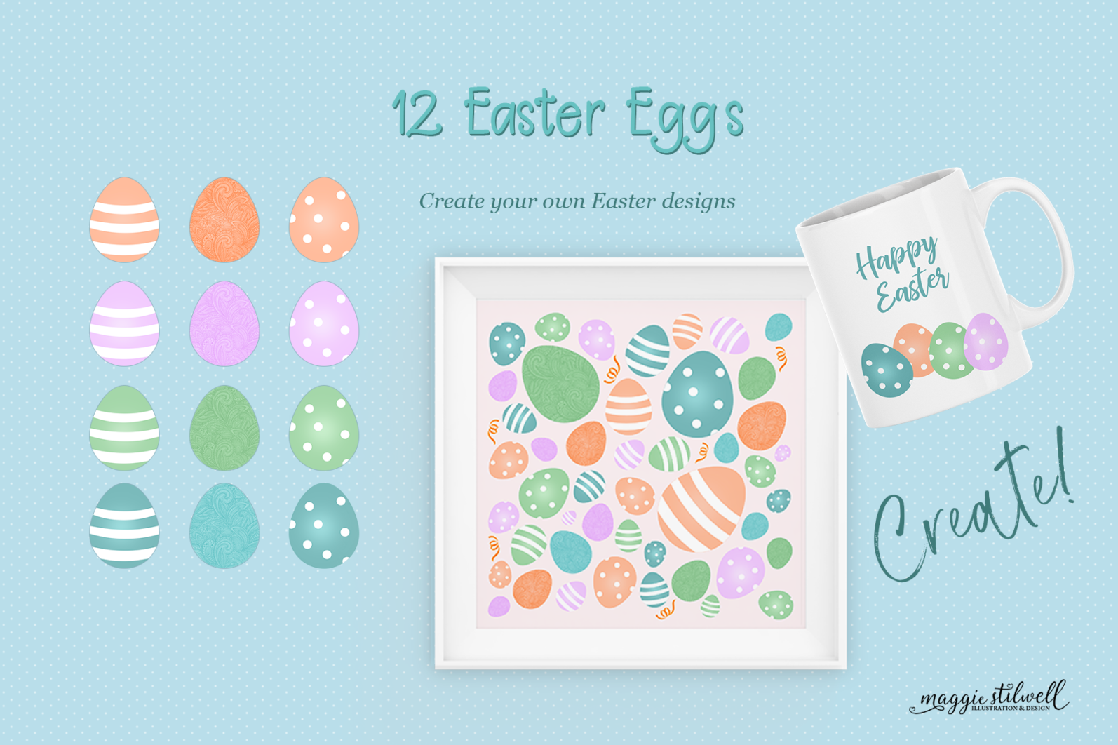 """""""Easter Fun"""" Design Set - easter eggs page -"""