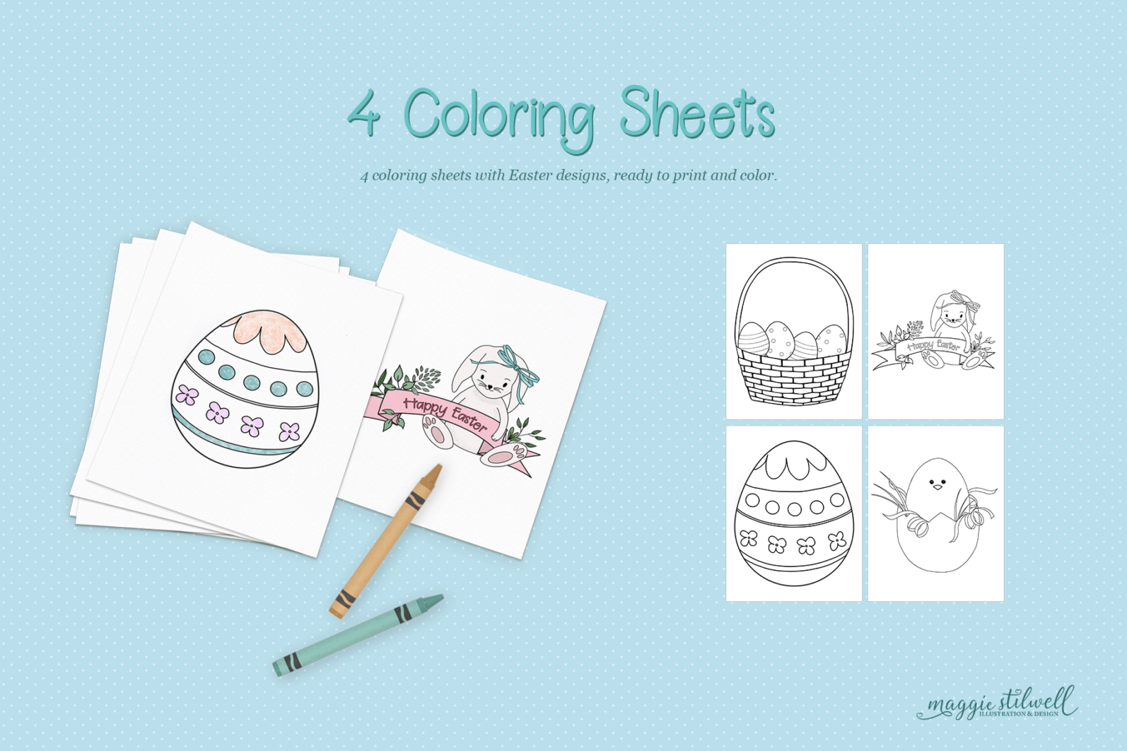 """""""Easter Fun"""" Design Set - easter coloring page -"""