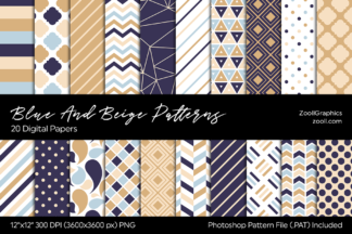 All Freebies - Blue Beige Patterns Preview -