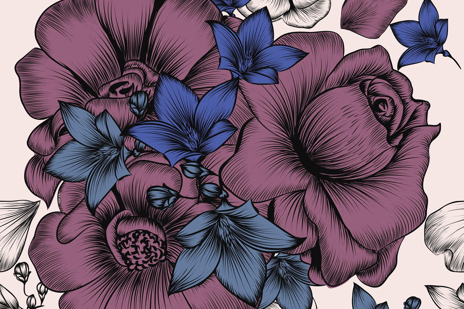 Floral Wallpaper Pattern With Engraved Hand Drawn Flowers Crella