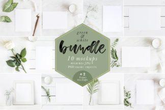 "<span style=""display: none"">Mockup Bundles</span> - green white paper invitation frames mockups bundle -"