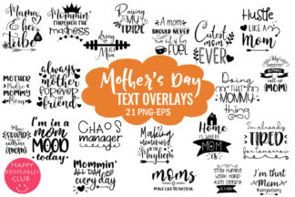 Crella Subscription - MOTHERS DAY TEXT OVERLAYS -