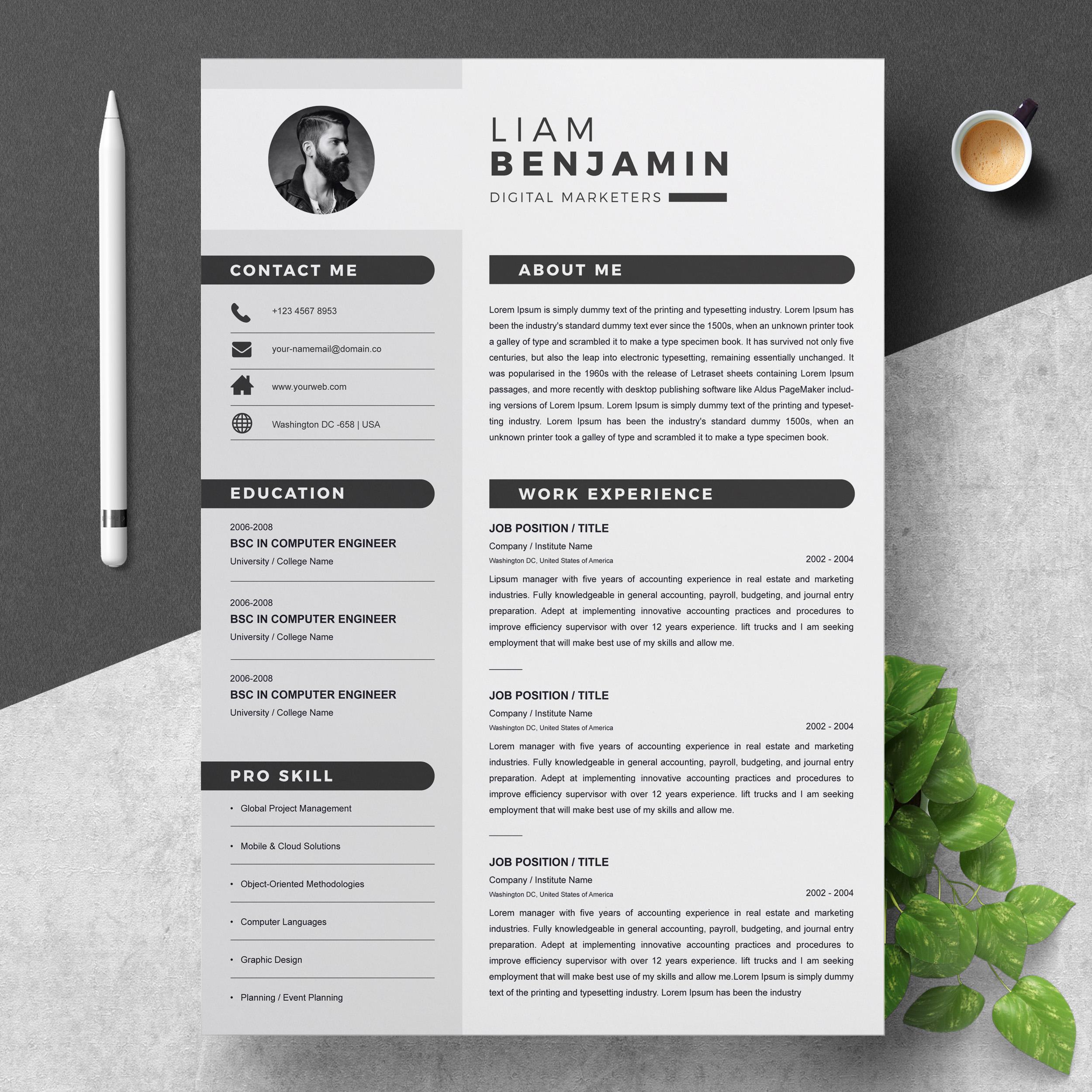 Resume Template | Word CV Design - Crella