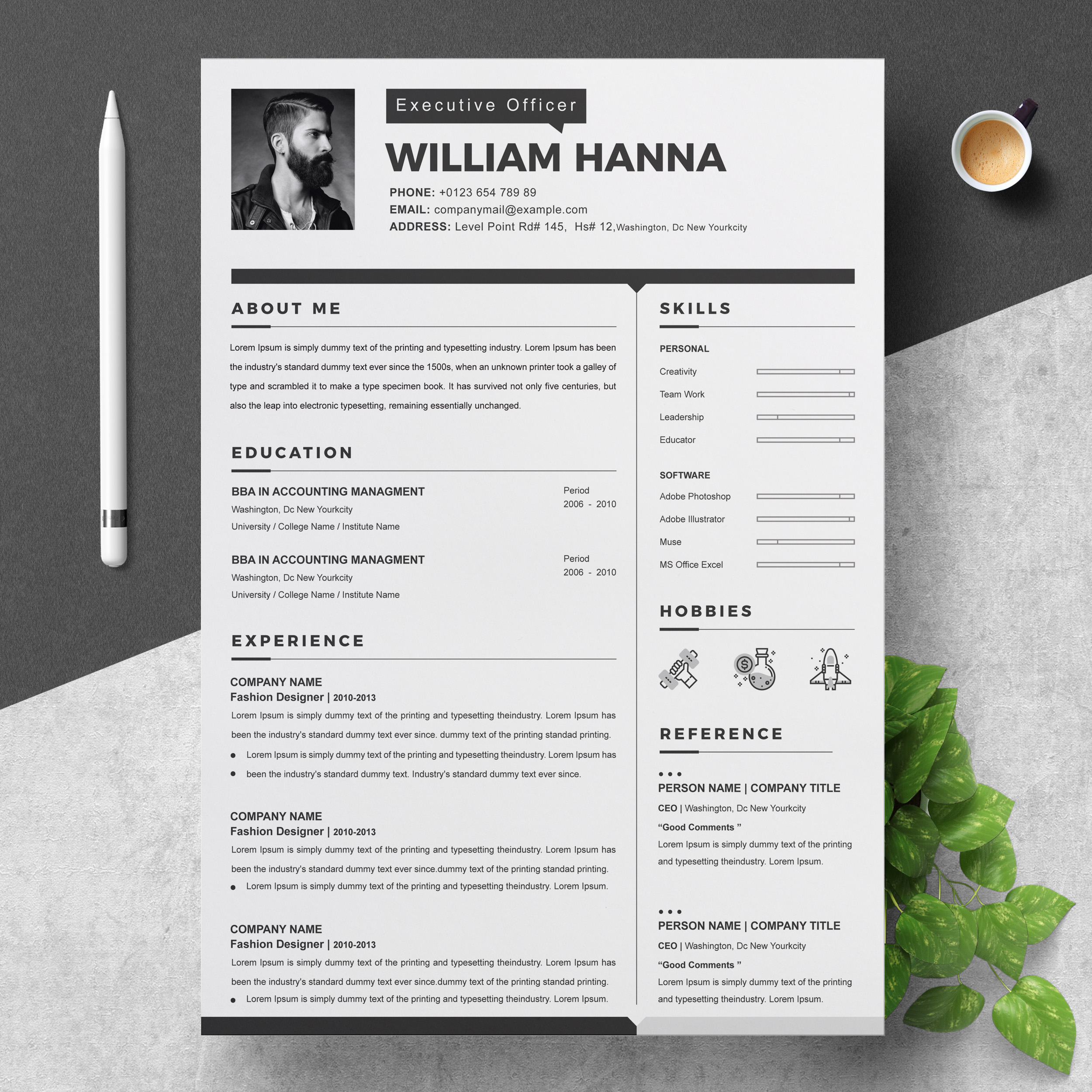 2 Page Resume Template With Cover Letter Crella