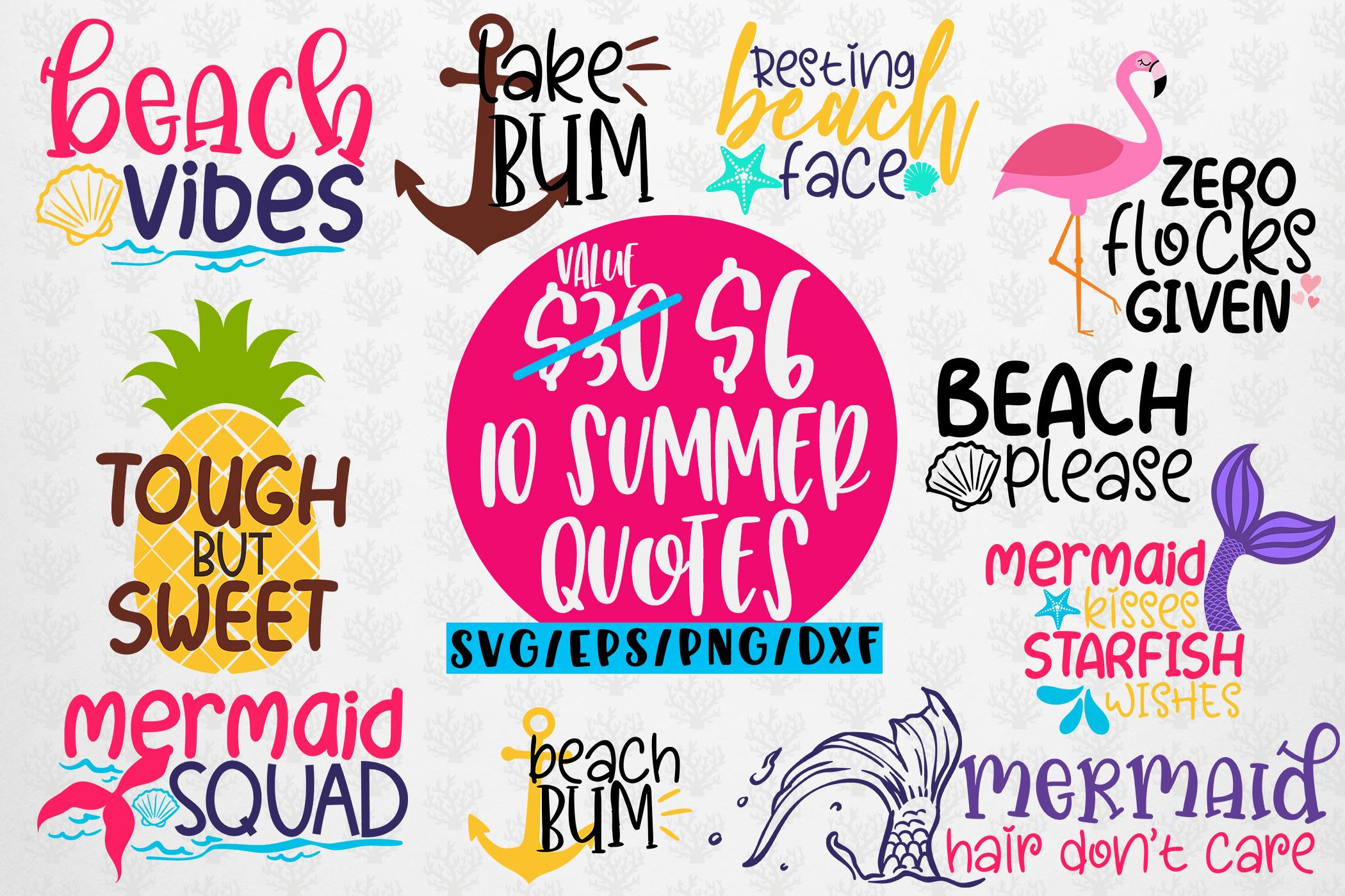 Summer Svg Bundles 10 Svg Eps Dxf Png Cut File Crella
