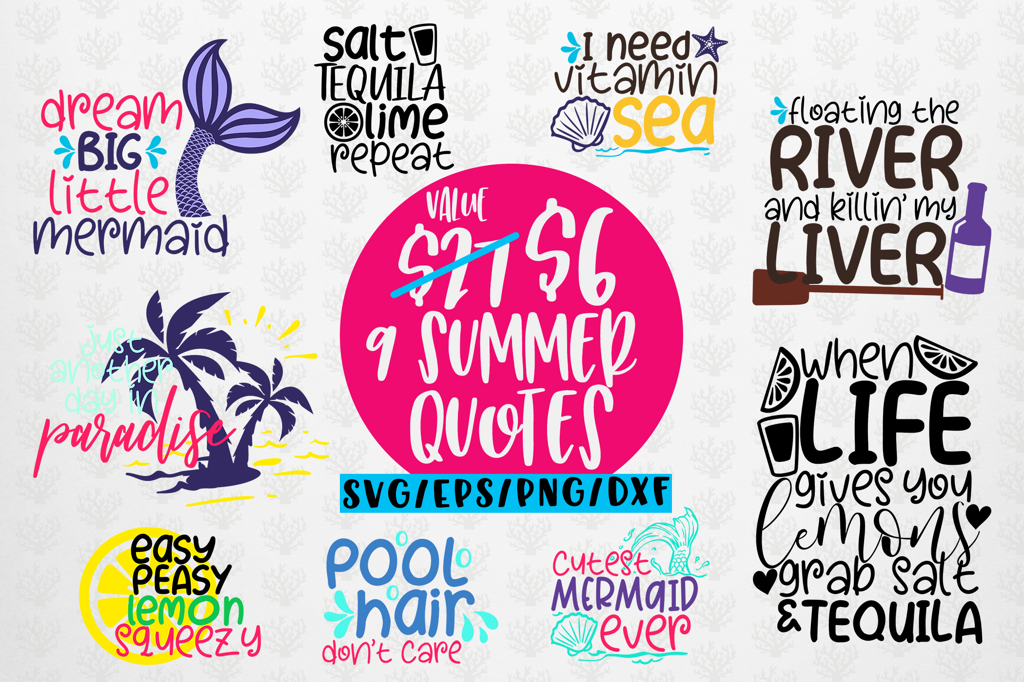 Summer And Mermaid Svg Bundles 9 Svg Eps Dxf Png Cut File Crella