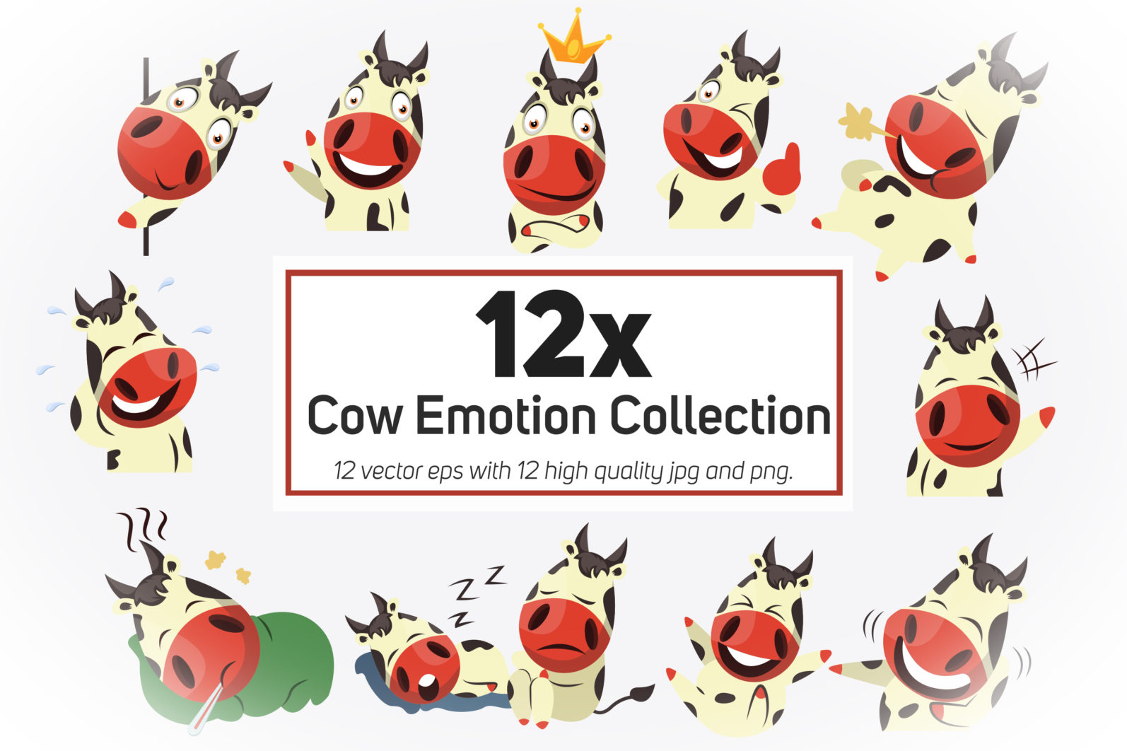 12x Cow Emotion Collection illustration. - Cow Emotion Bundle Presentation MAIN 1 scaled -