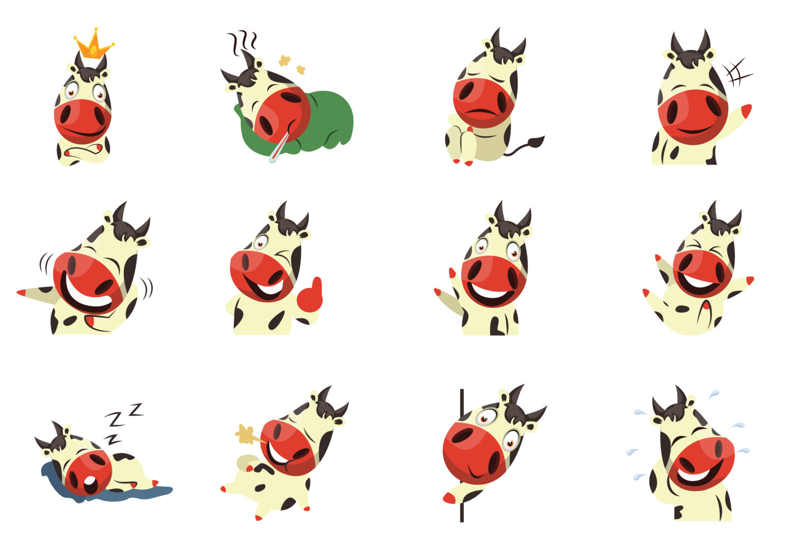12x Cow Emotion Collection illustration. - 71 Cow Emotion Collection 12x ALL EXAMPLES scaled -