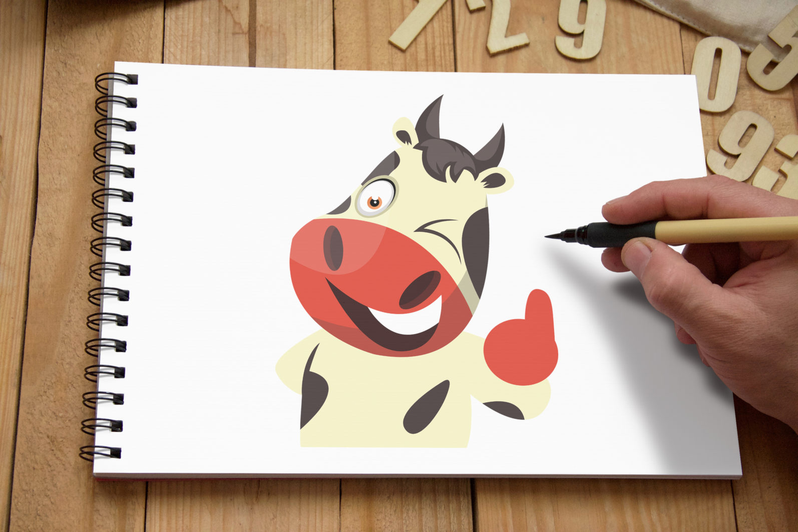 12x Cow Emotion Collection illustration. - 71 Cow DRAWING BOARD SECONDARY scaled -