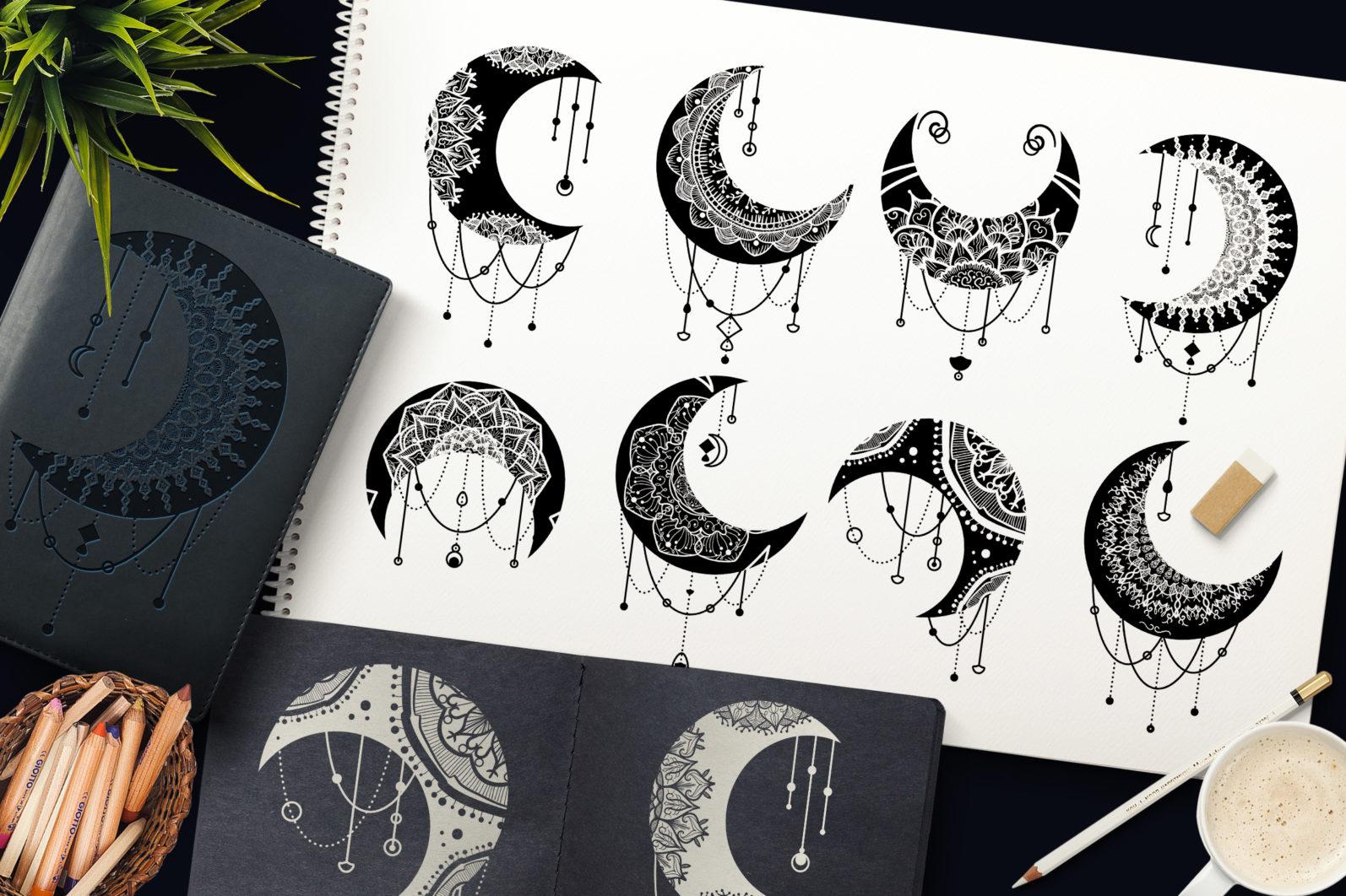 Mandalas Crescent Moon Clipart Set - 2340 -
