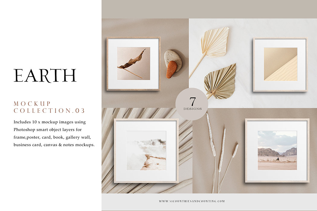 Square Frame Mockup Bundle | Earth Series | 7 x Photoshop PSD mockup templates - Earth Series 1. Preview 1 -