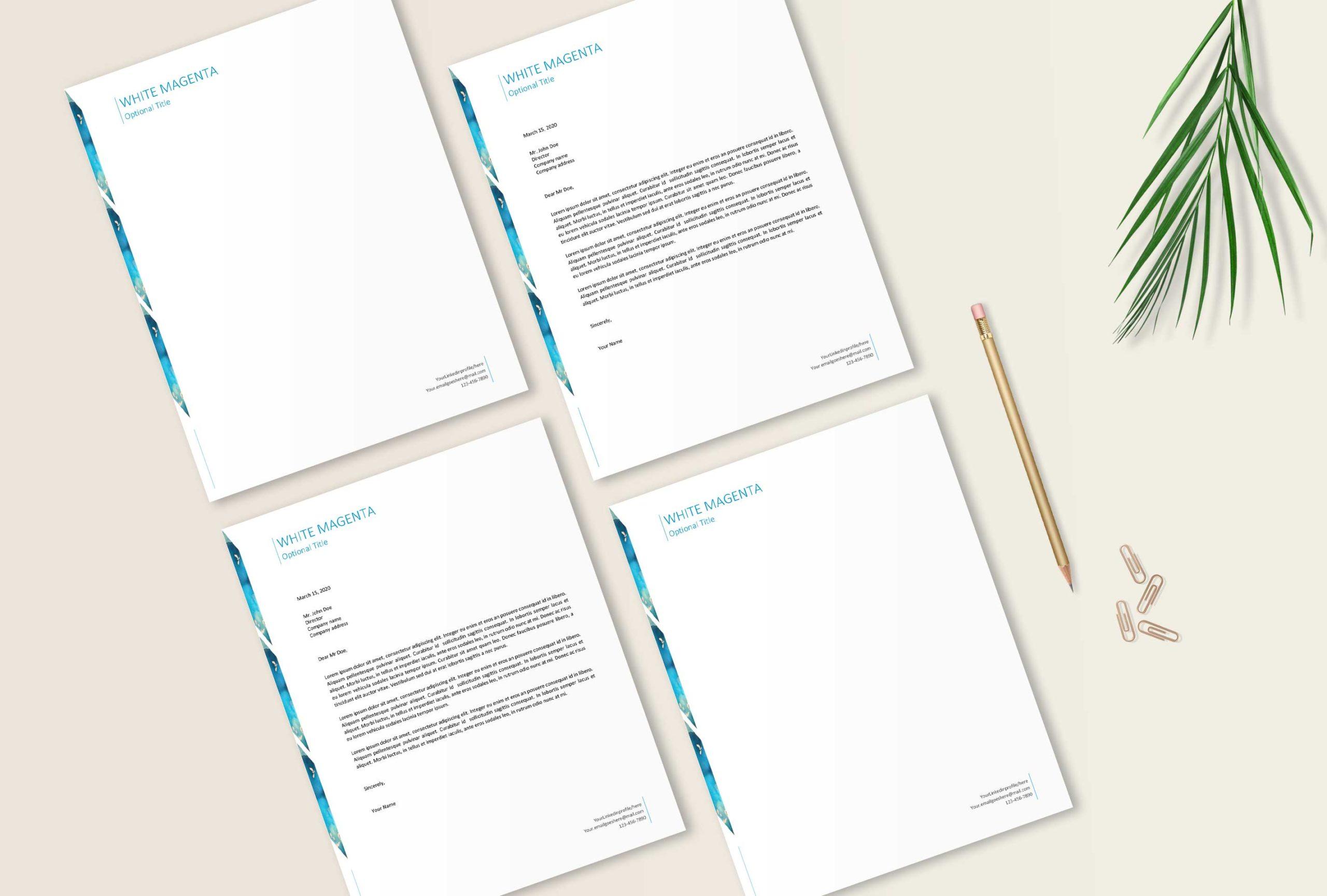 Business Letterhead Design   Cover Letter Template for ...