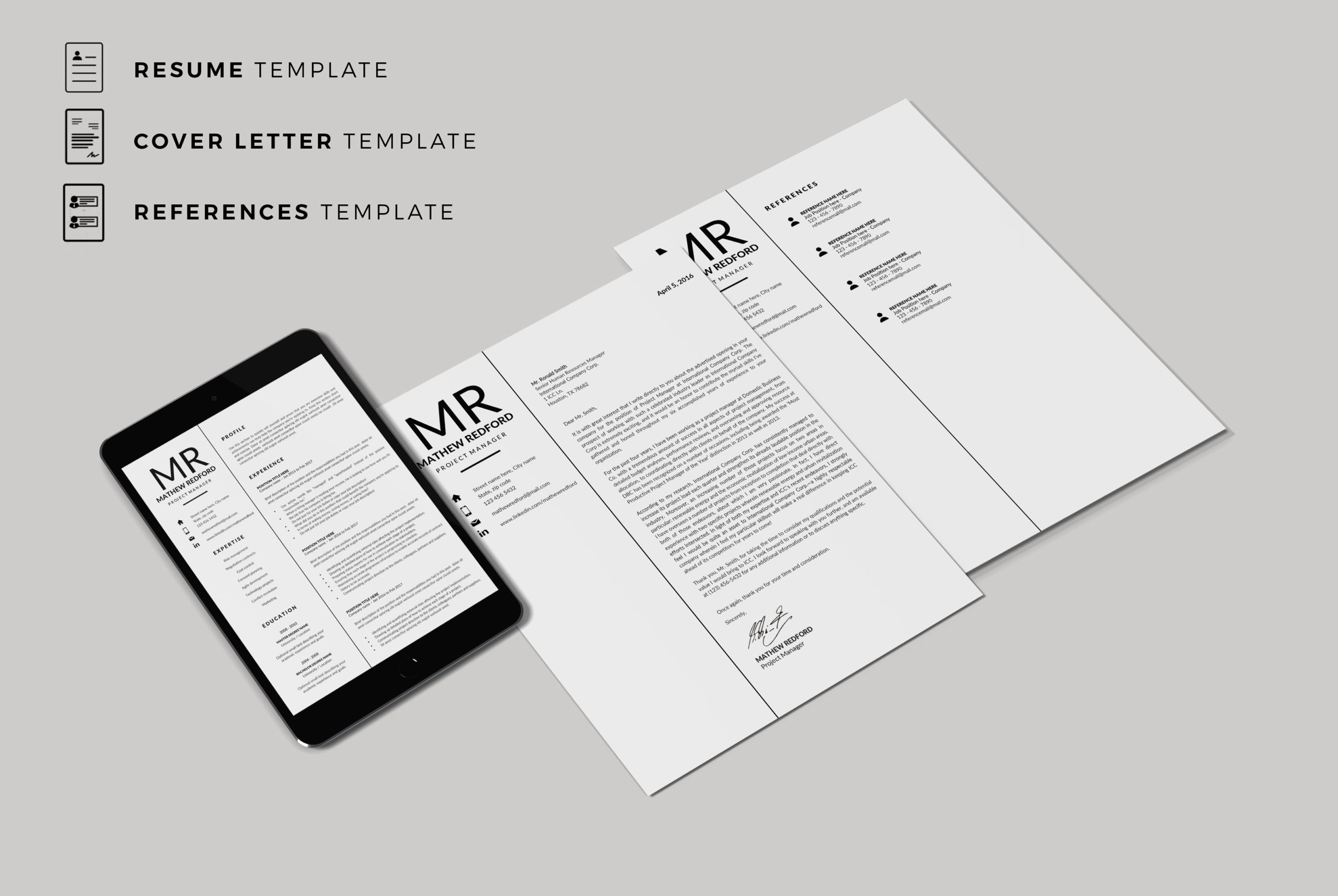 Minimalist Resume Template for Word & Pages + Matching ...
