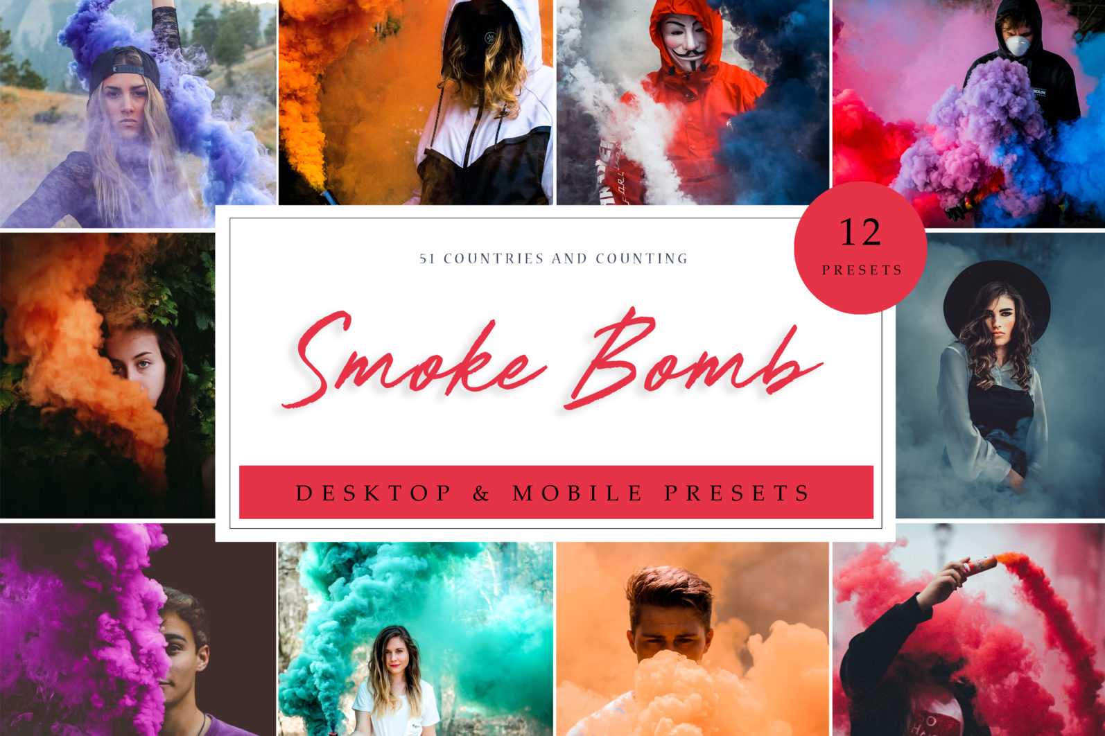 12 Smoke Bomb Lightroom Presets to enhance your Smoke Bomb Photoshoots - Smoke Bomb LR scaled -