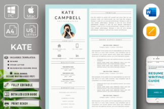 Creative Resume Cover Letter Format And Resume With Photo For Ms Word And Mac Pages Crella