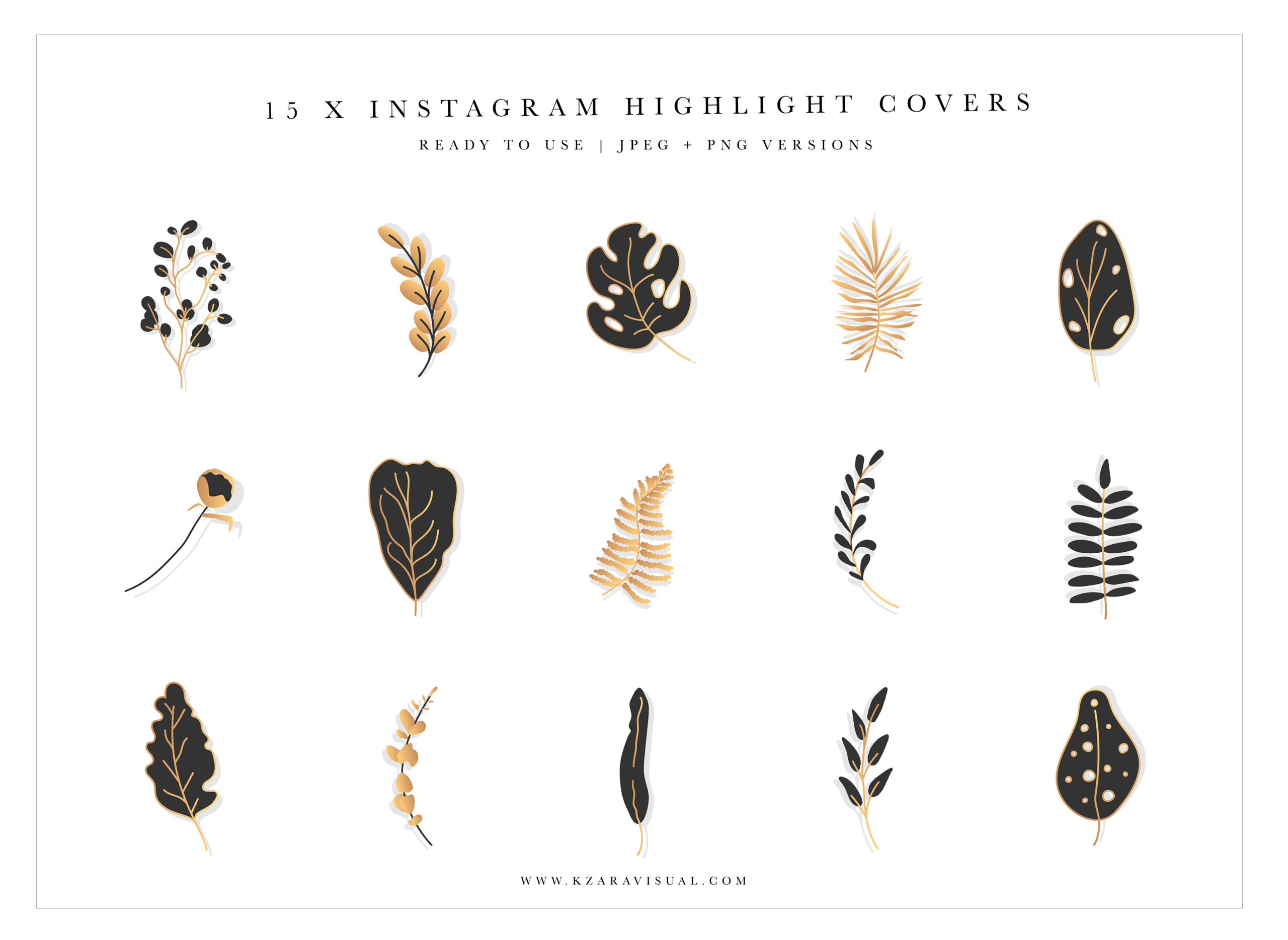 Instagram Highlight Covers 9 Botanical Instagram Icons Black And Gold Highlight Covers Crella