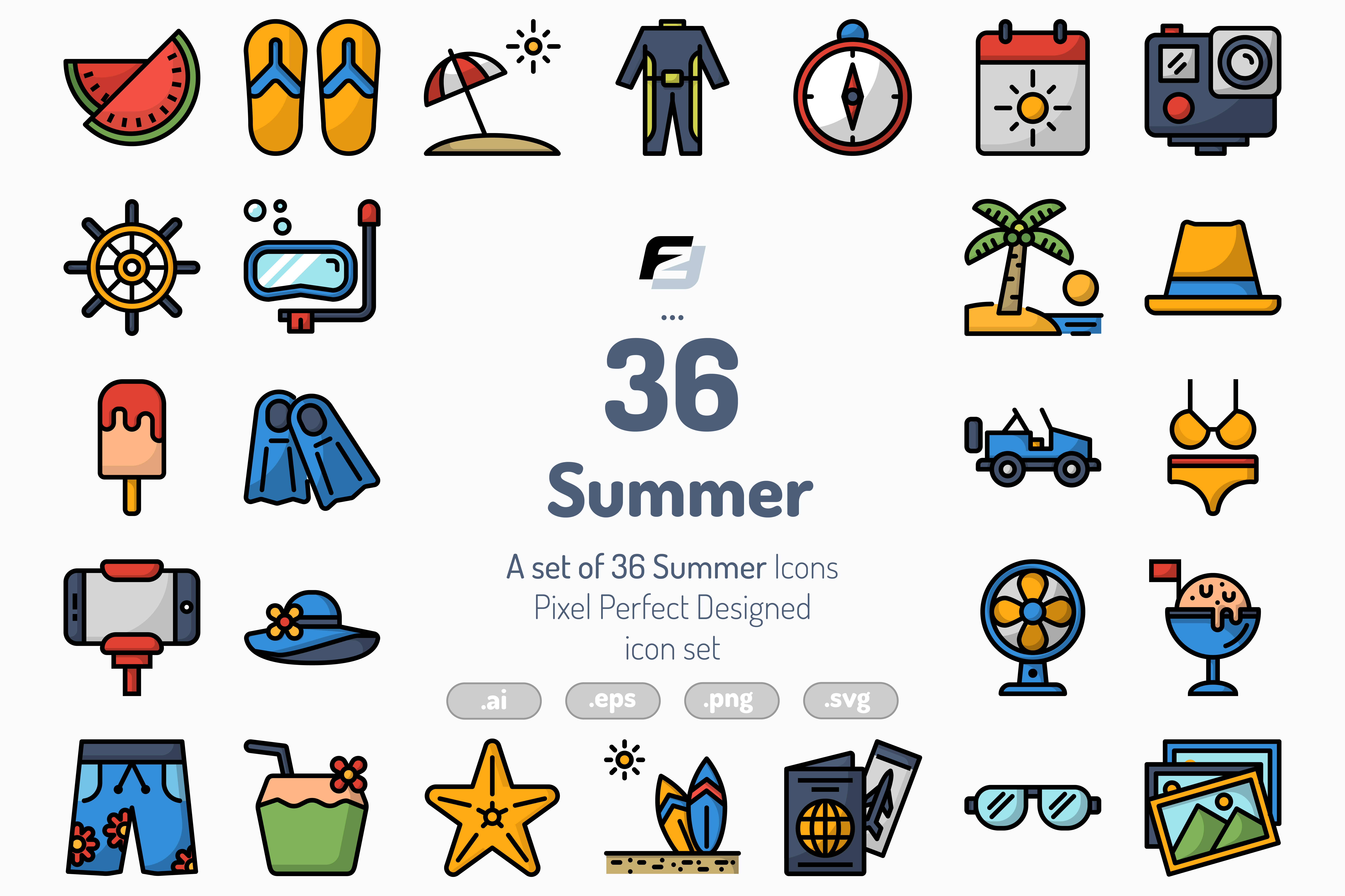 36 Summer Icons - Preview 01 1 -