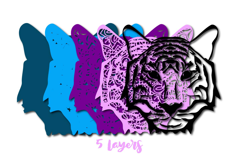 Download 3D multi layer Tiger Head out Of Mandala Cut File - Crella