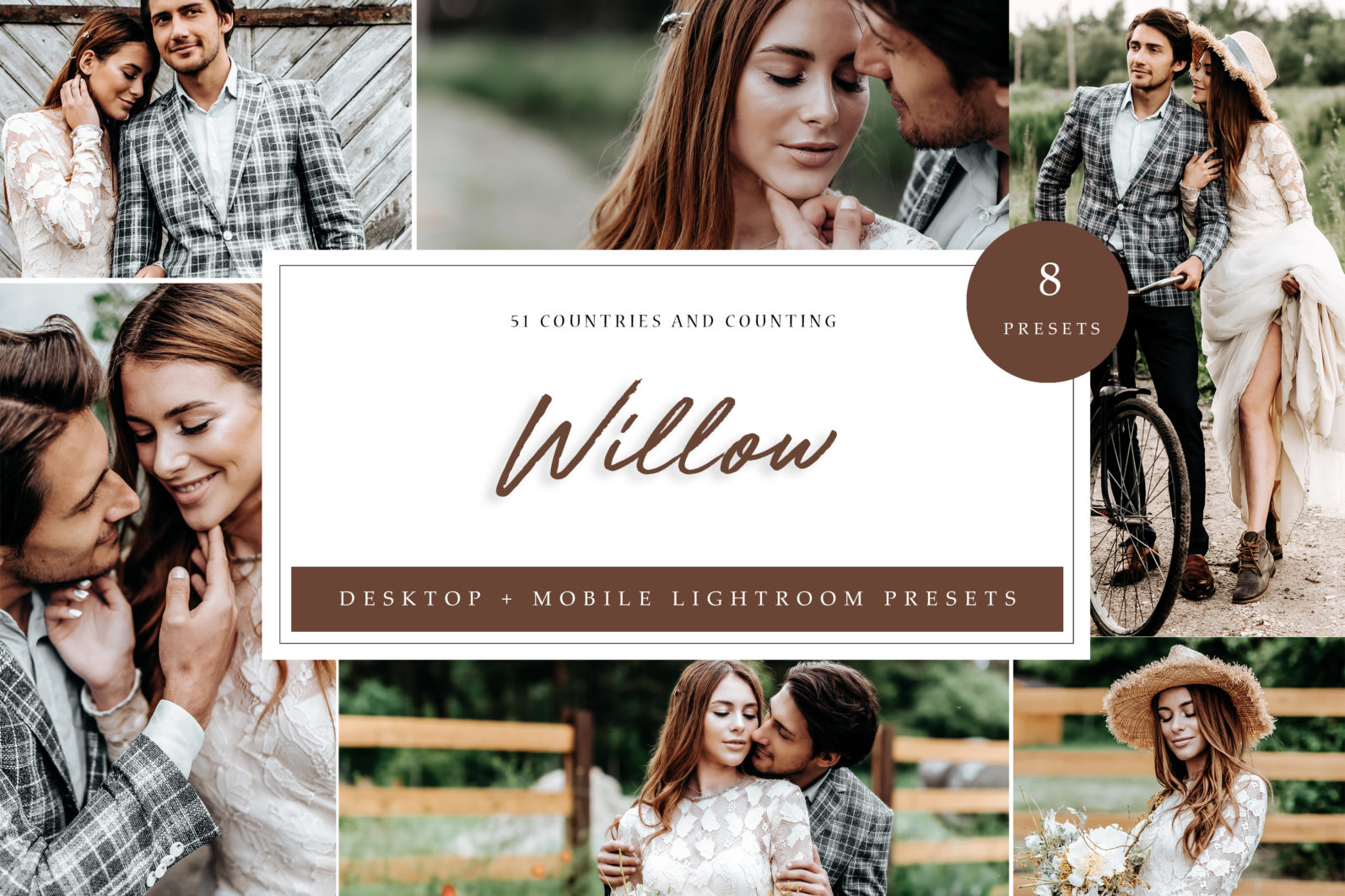 8 x Willow Brown Toned Lightroom Presets, Couple and Engagement Presets, Wedding Presets - Willow LR scaled -