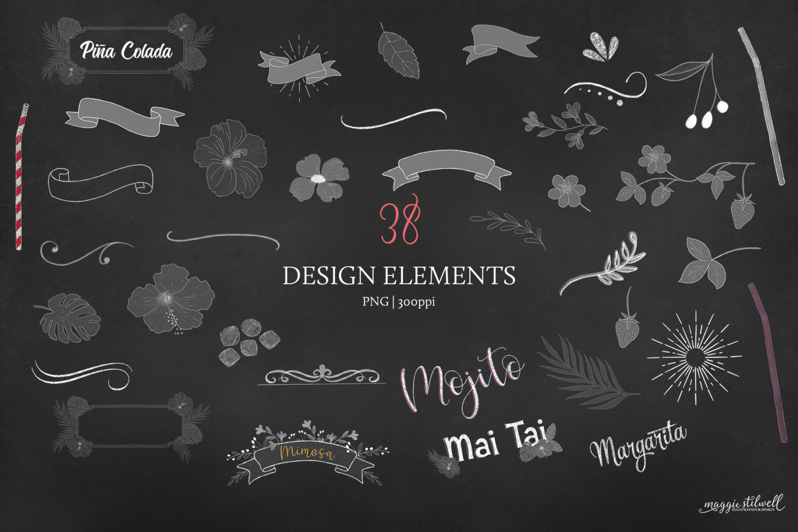 Cocktail Illustrations & Posters - page flourishes 3 -